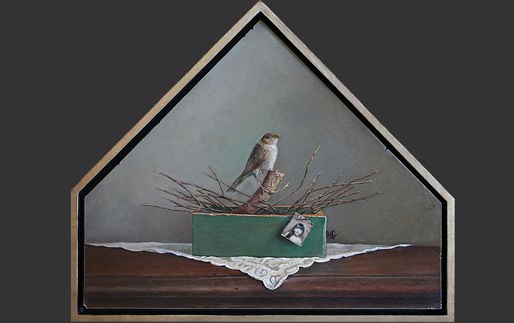 """Eulogy, oil on panel, 22""""x26""""x13"""", 2010"""