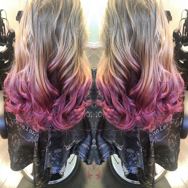 Never a dull moment #purplehair #longhair #curls #ombre