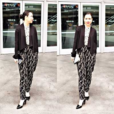 Stylist:  Sica Schmitz  - MUAH: Tiana Lowe - Top:  People Tree  - Blazer:  Kowtow Clothing  - Pants:  Symbology Clothing  - Earrings:  Mata Traders  - Shoes:  Bead and Reel  - Vintage Recycled Clutch