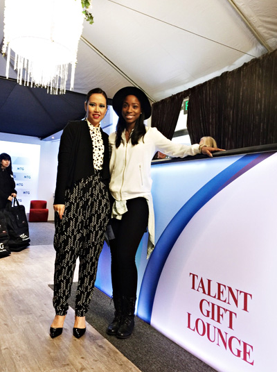 Agnes Muljadi and April Barnes at the Official Gift Lounge for the 59th Grammy Awards