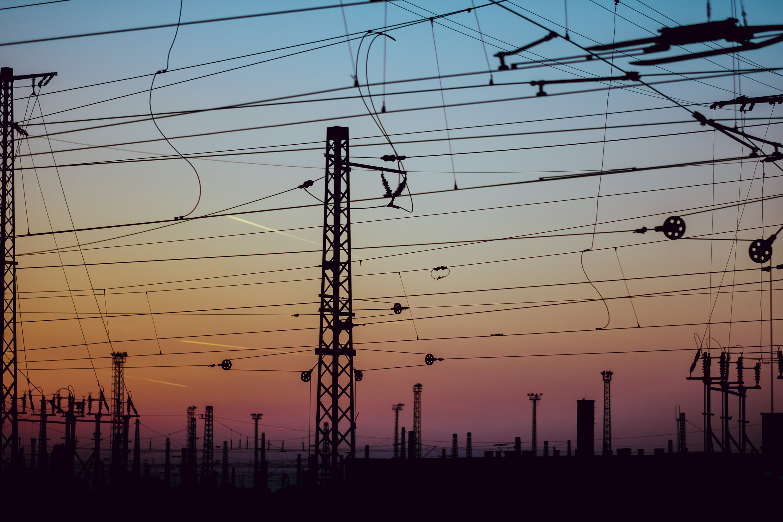 Wires in sunset