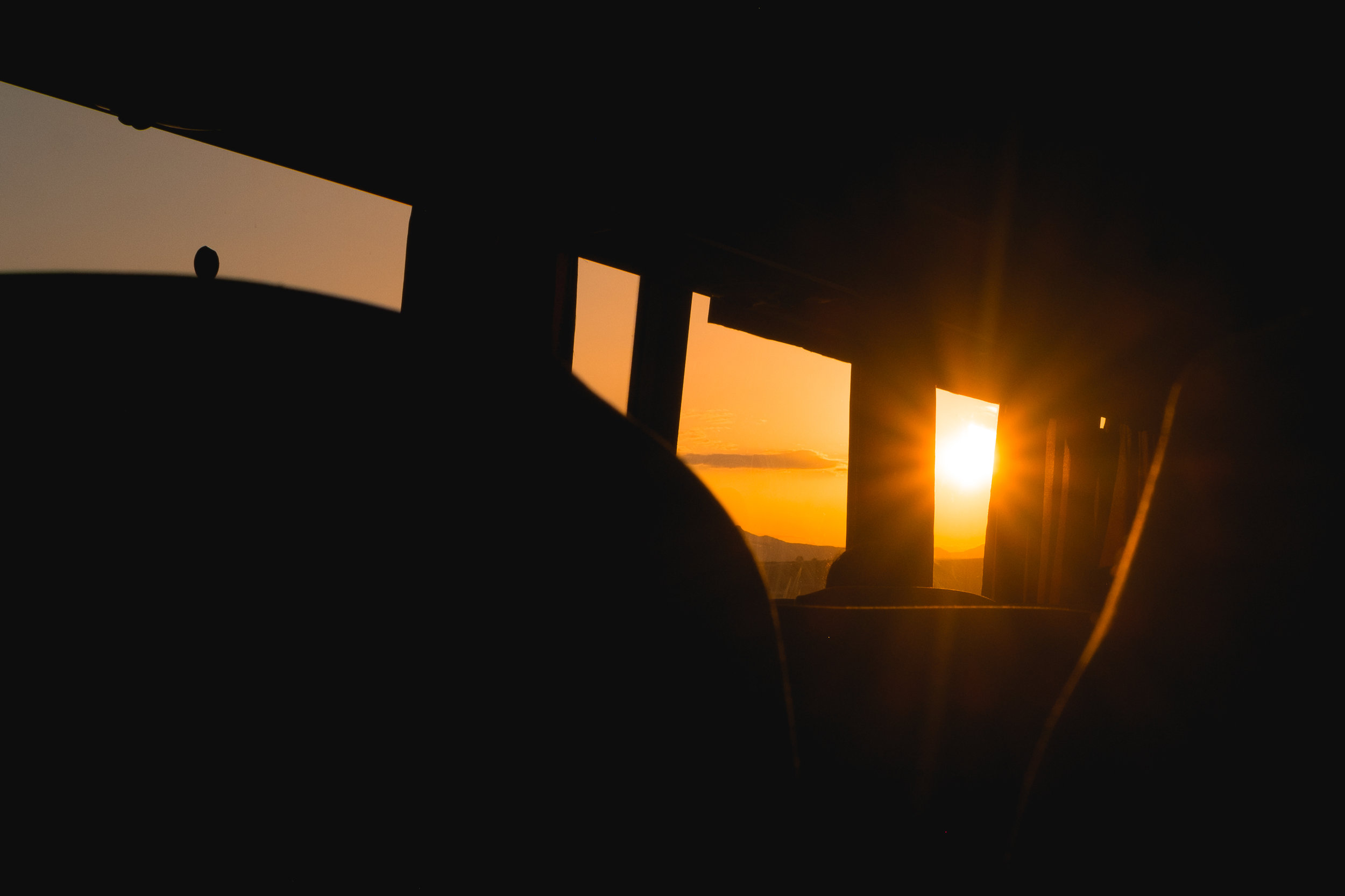 sunset on the bus