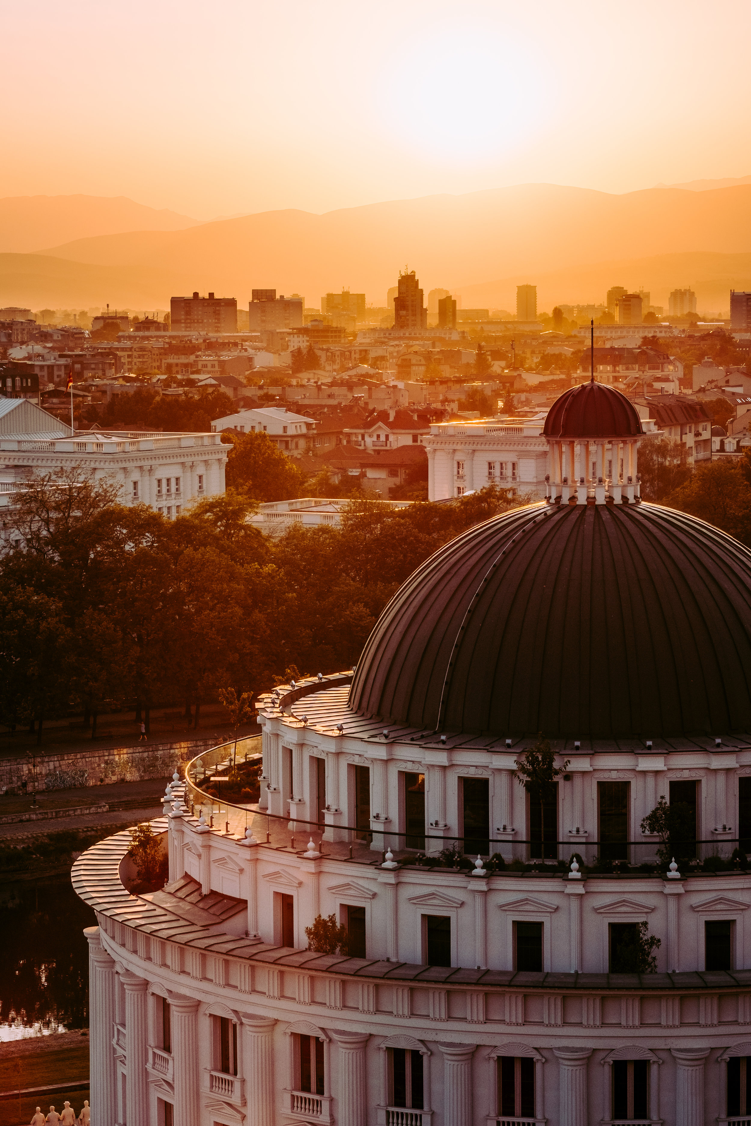 Summer sunset in Skopje . Skopje, Macedonia. August 27, 2017.