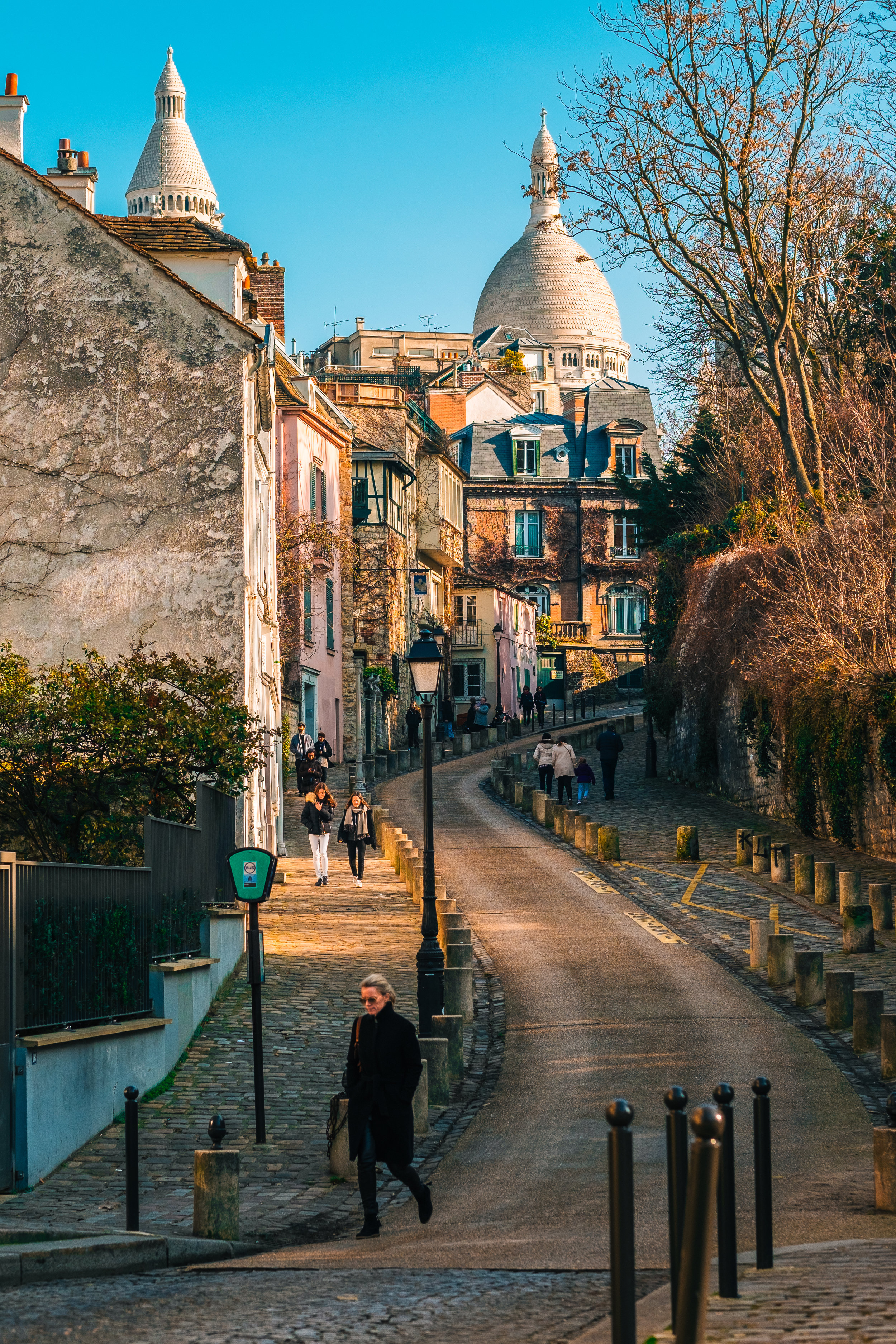 Montmartre streets . Paris, France. February 13, 2017.