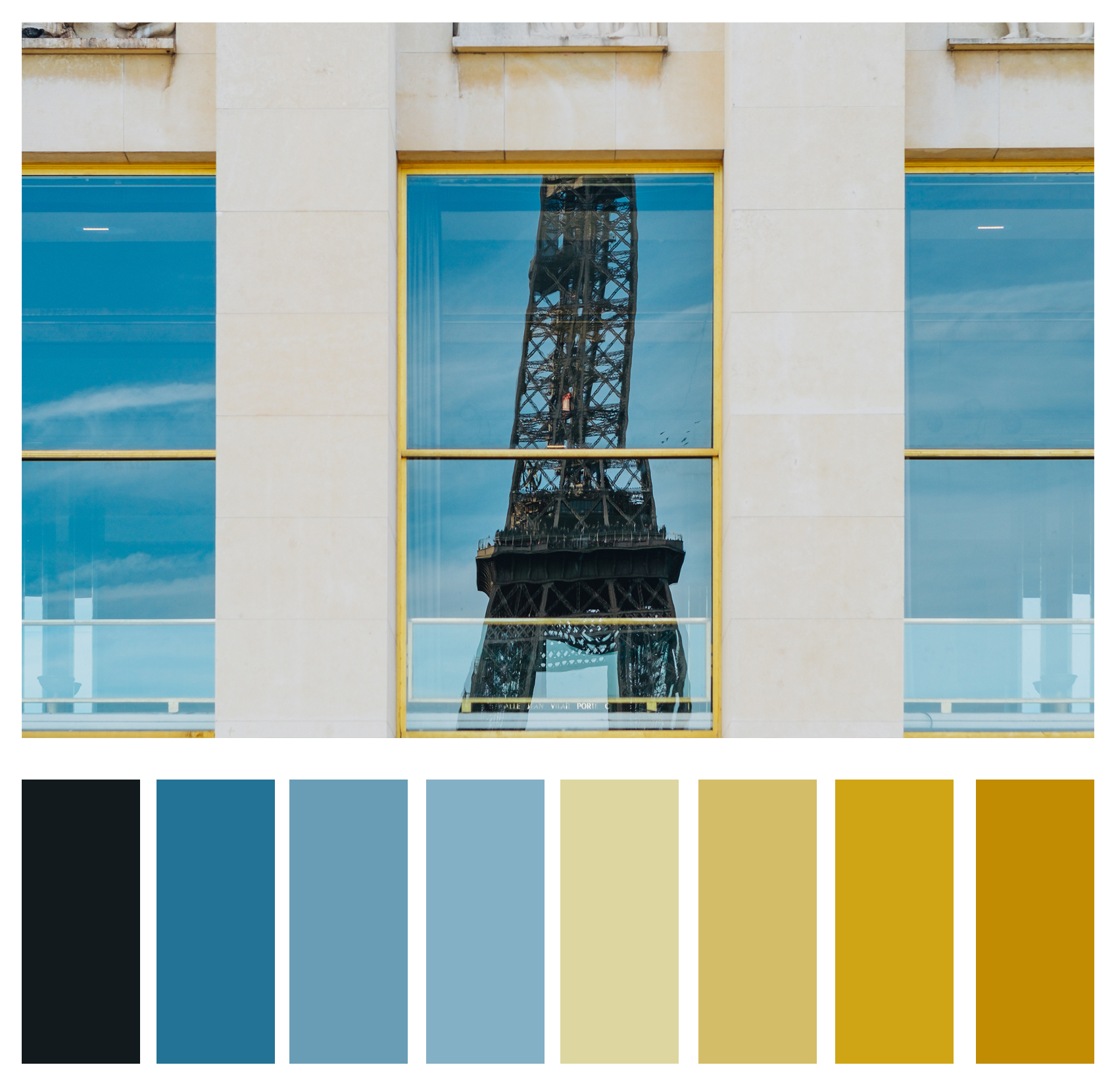 Figure 3a: Tones of blues and yellows complement each other.