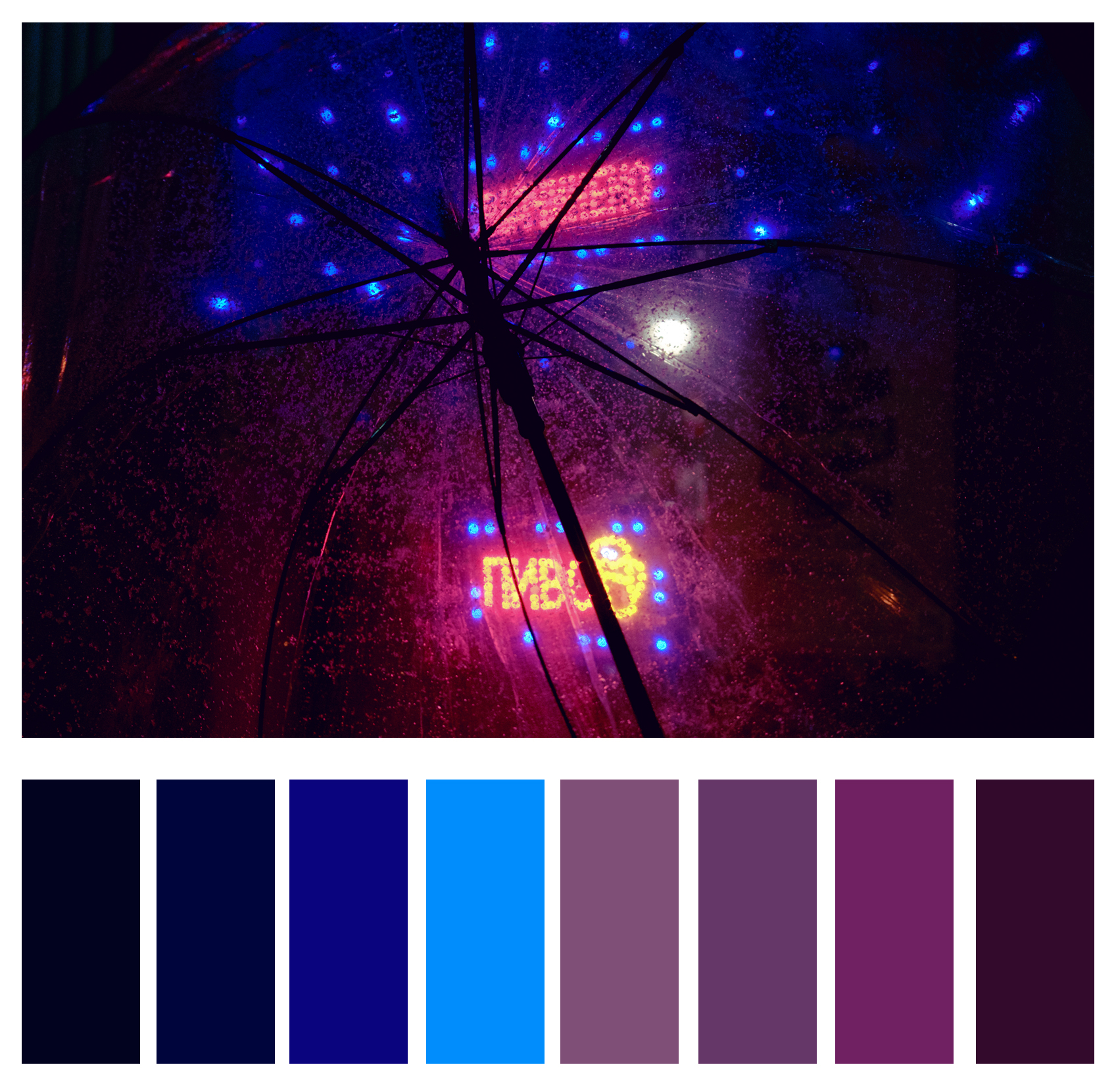 Figure 4c: Analogous shades of blues and purples.