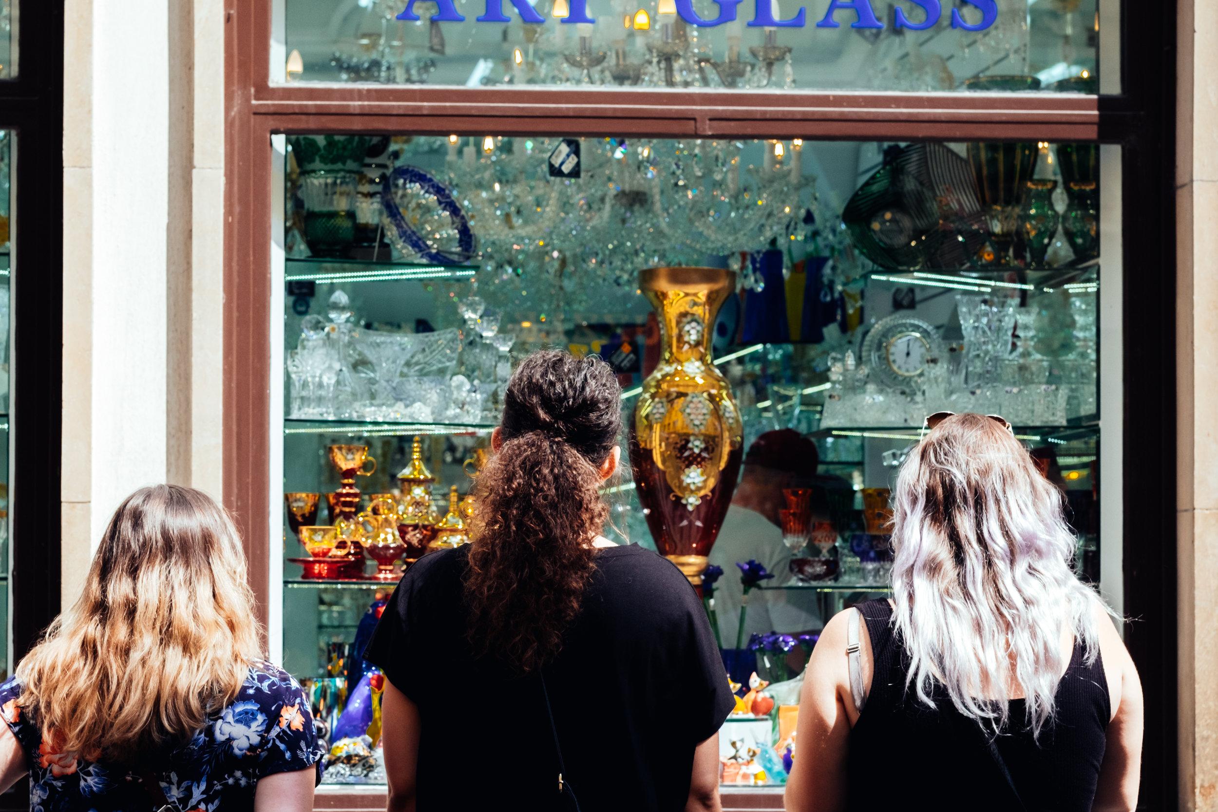 prague streets praha old town crystal shop