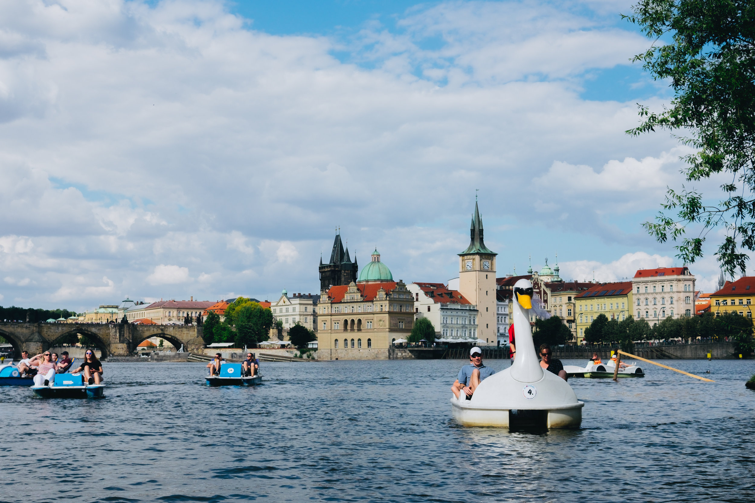 Paddle boats on the Vltava Prague Praha