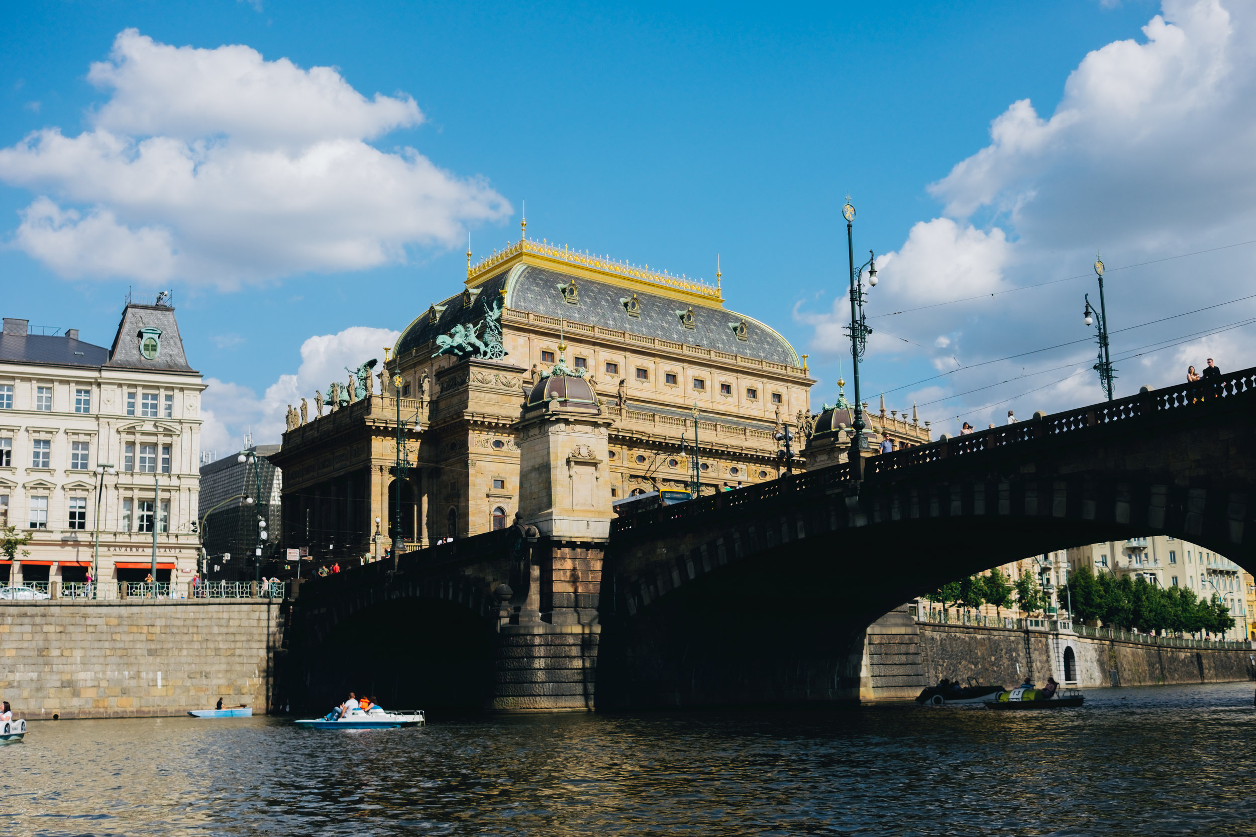 Paddle boats on the Vltava Prague Praha Opera House
