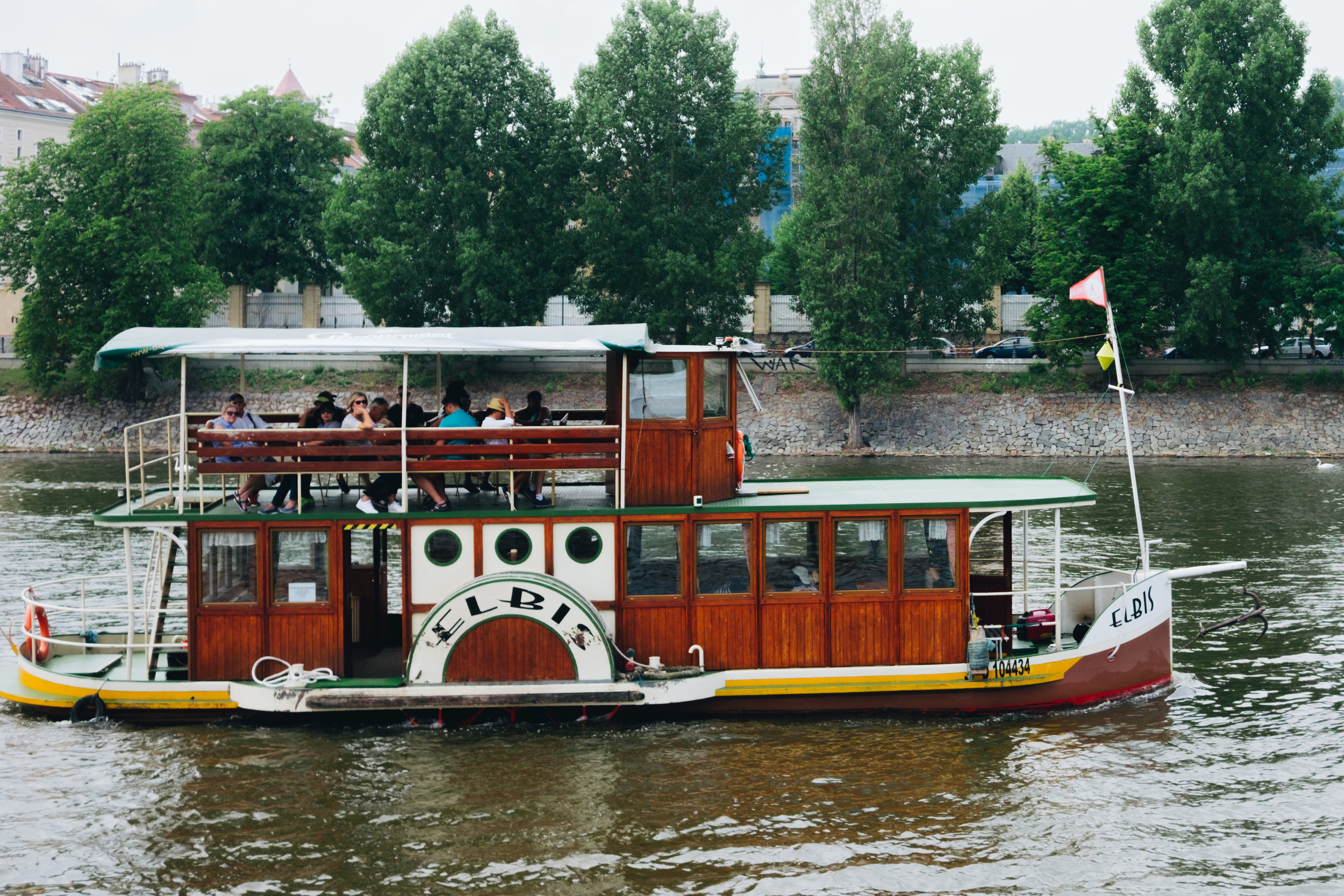 boat cruise on the Vltava River Prague Praha Elbis flat bottom boat