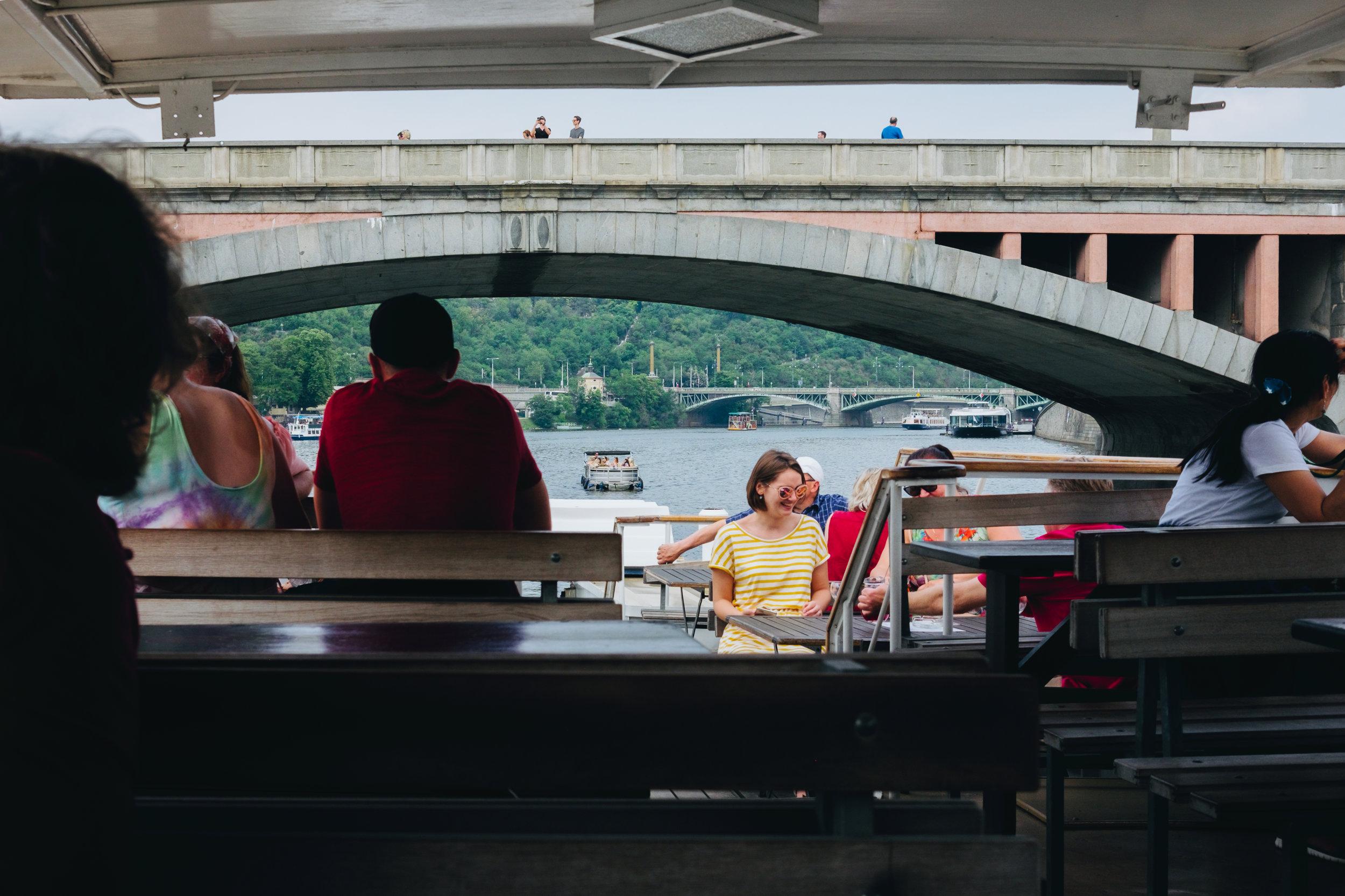 boat cruise on the Vltava River Prague Praha