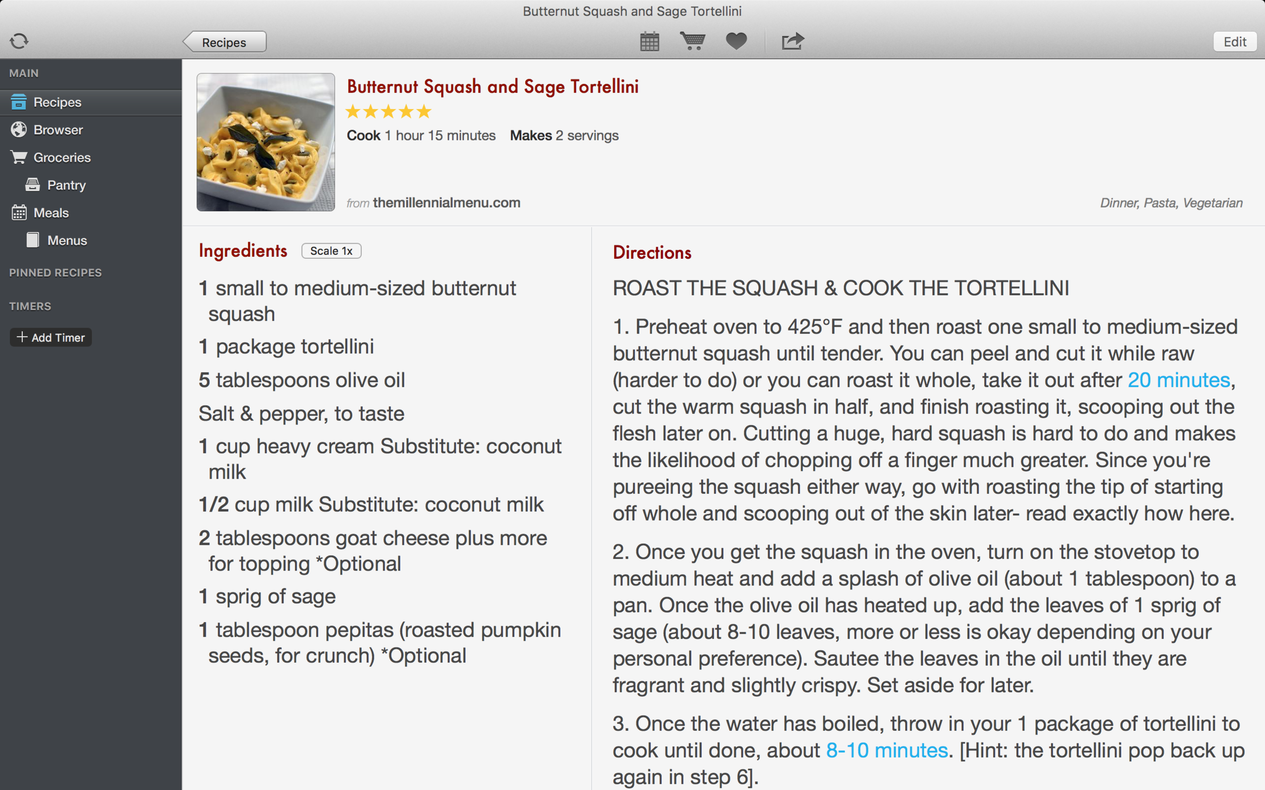 Read and adjust recipes within the app.