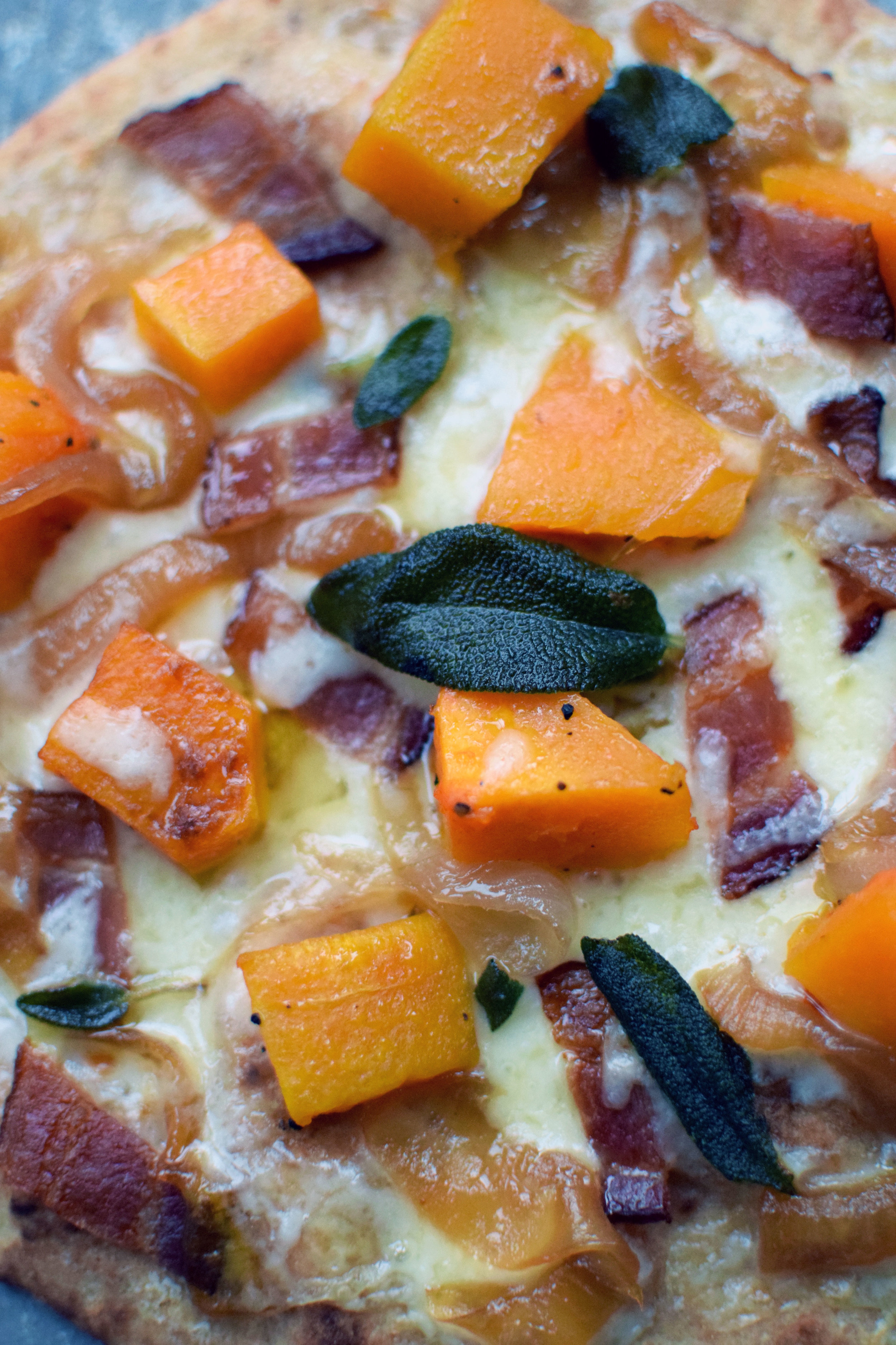 butternut squash, sage, onions, cheddar and bacon make for the perfect autumn pizza| themillennialmenu.com