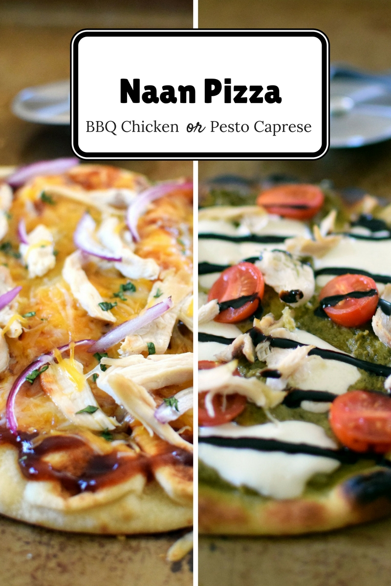 Two easy options for naan pizzas for dinner! BBQ Chicken Pizza and Pesto Caprese | themillennialmenu.com