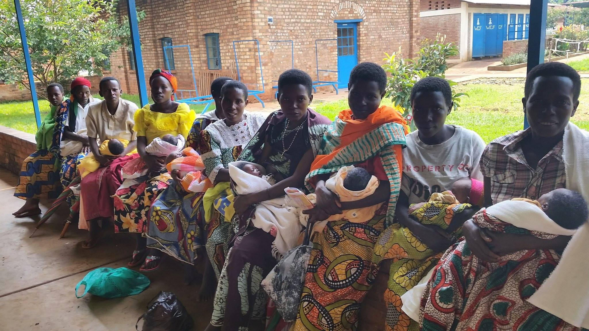 Mothers line up with their infants for perinatal care in a rural hospital in Burundi.