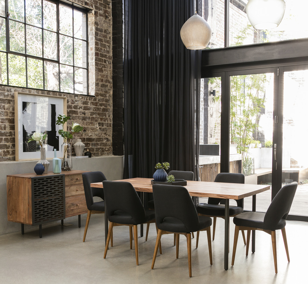 MYLES dining table with JARVIS dining chairs and MYLES buffet