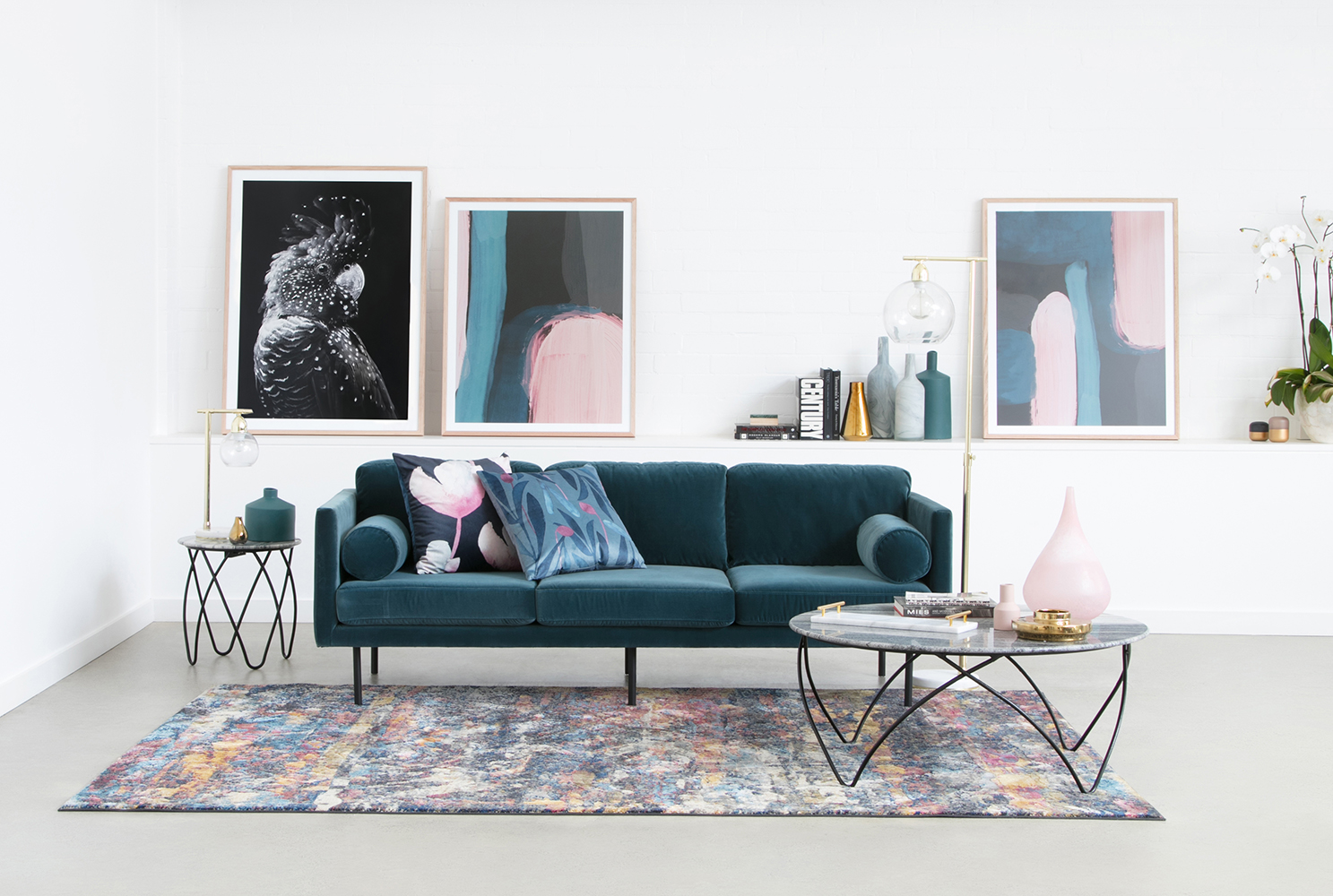Spectre three-seater sofa in velvet, Hermon coffee and side tables
