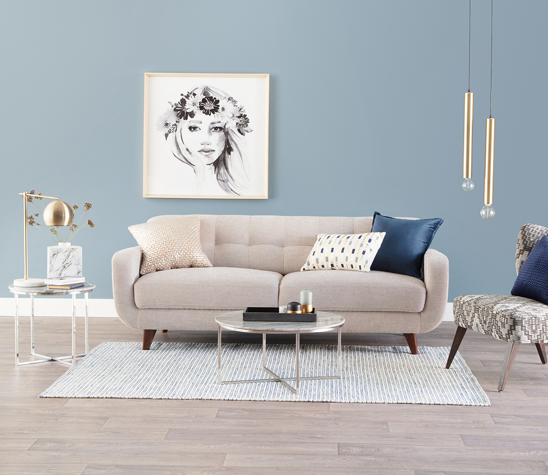Cosmo three-seater sofa, Fritz coffee and side tables, Ada designer chair