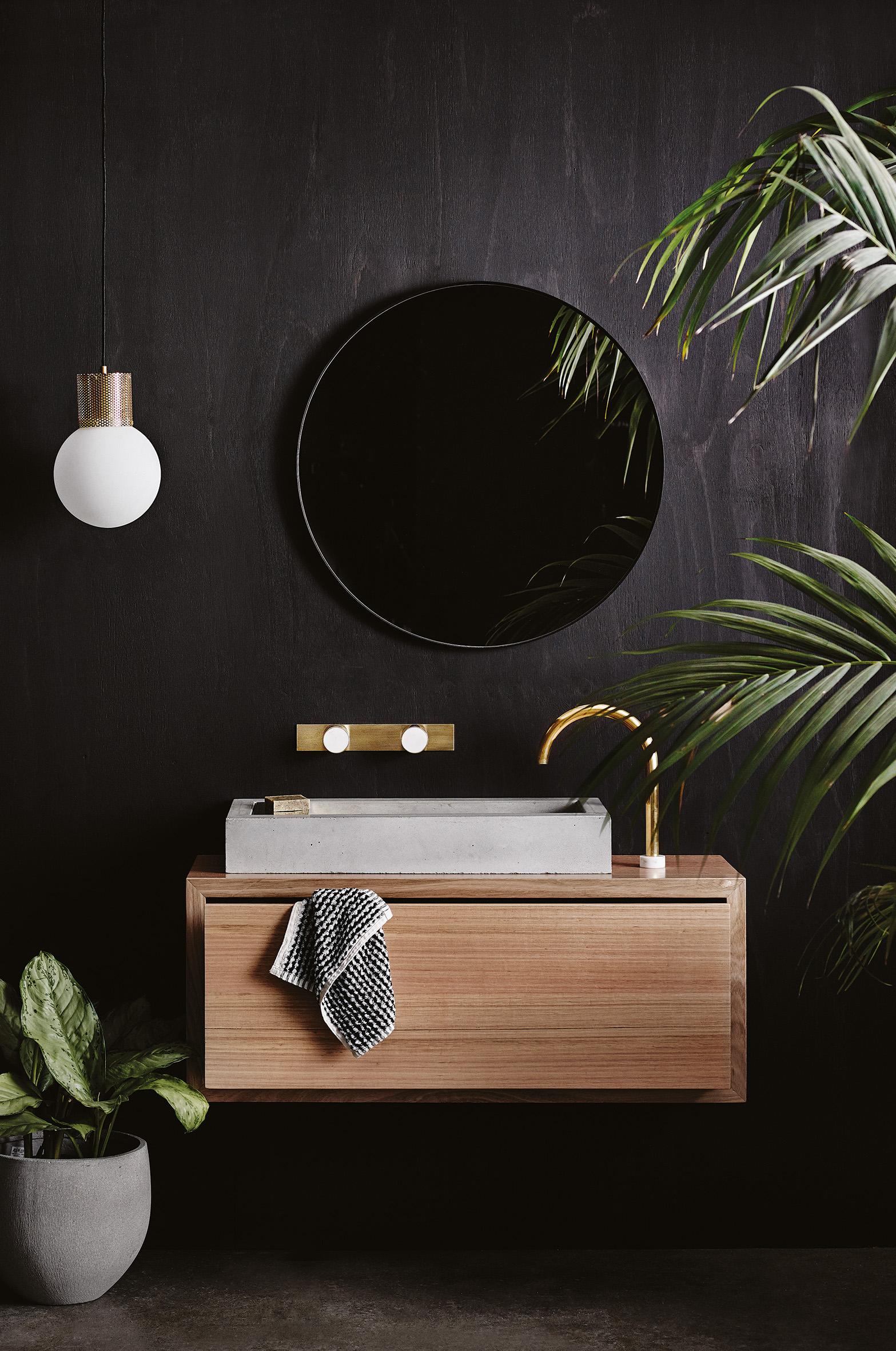 Wood Melbourne's concrete vanity basin  /   Photography  Lisa Cohen  /   Styling  Beck Simon