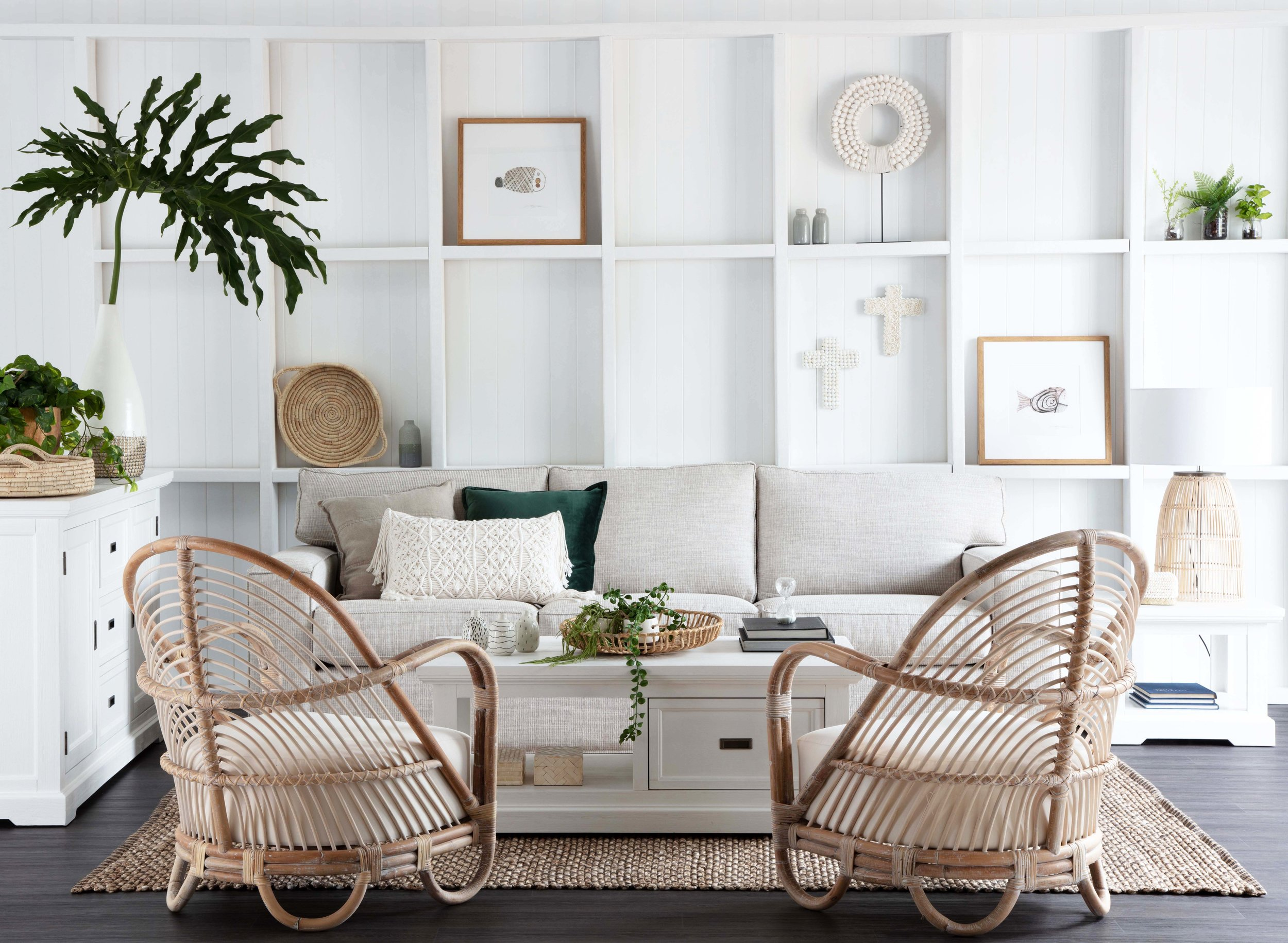 Ashton three-seater sofa, Hamptons buffet and coffee table, Martini designer chairs