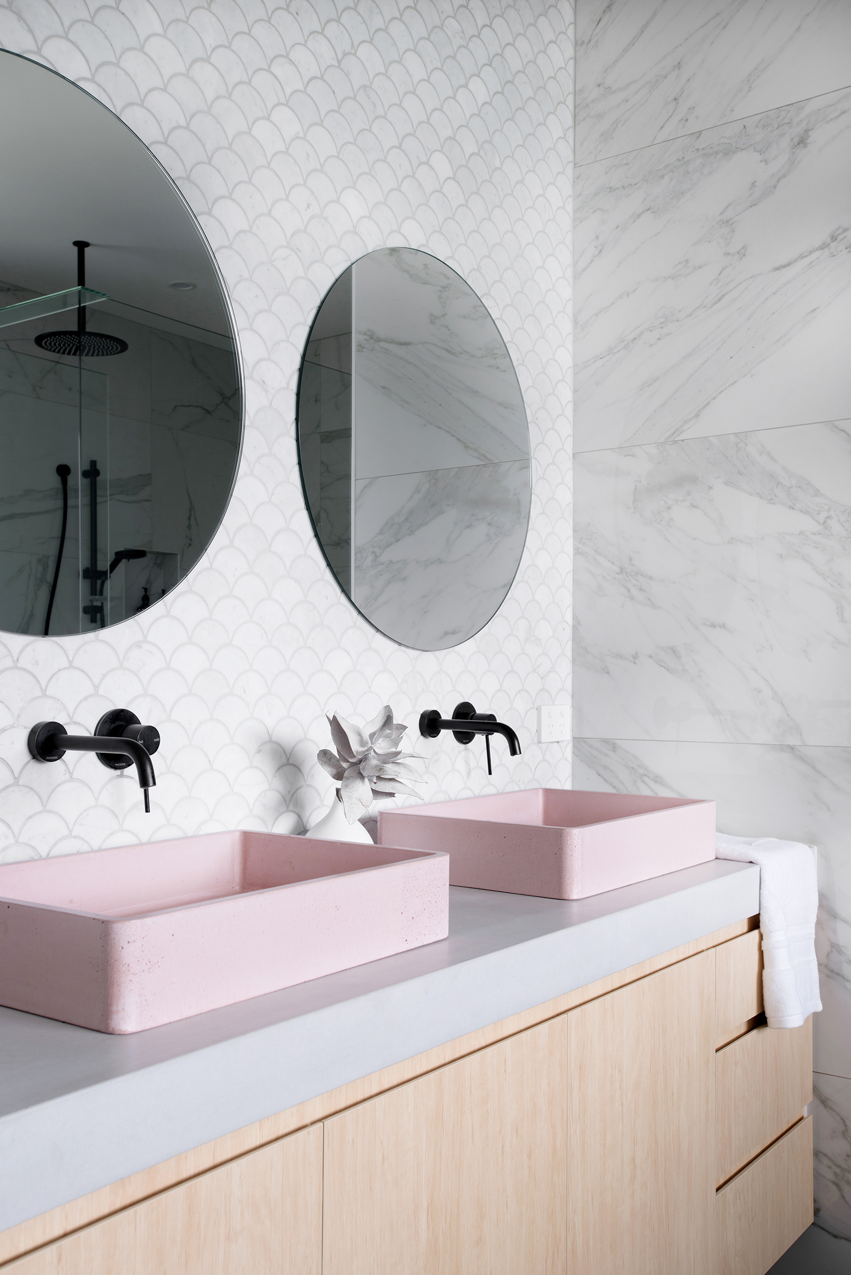 PINK IS BACK! - The colour pink is back in a huge way, dubbed 'Millennial Pink', the blush pink shade is popping up everywhere, from painted walls, to soft furnishings and yes, even in bathrooms. Go bold with pink tiles, or for a safer pop of colour, opt for a pink concrete sink. If you tire of the colour in a few years, simply replace (much cheaper than replacing tiles!).