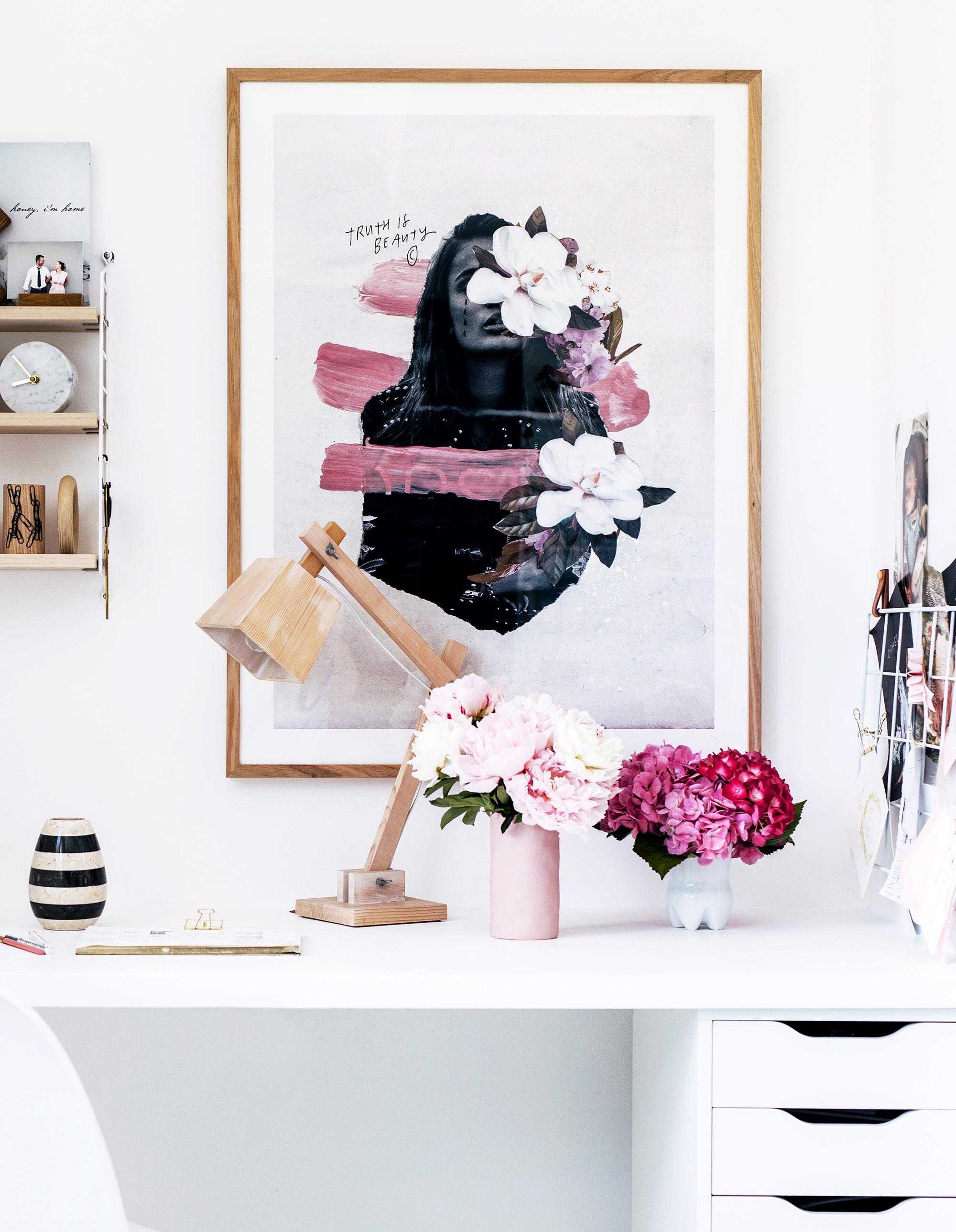 Interior design  Nicola Greenaway  /   Photography  Hannah Blackmore  /   Styling  Claudia Stephenson  /  Truth is Beauty print by Blacklist