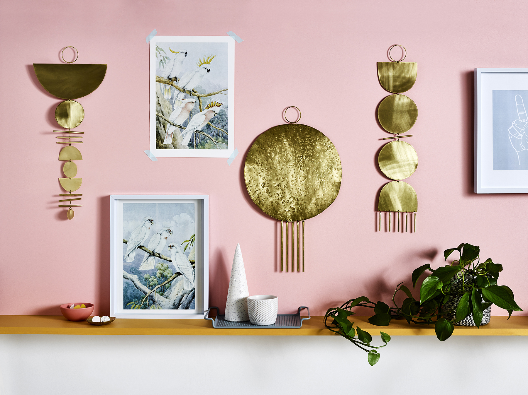 Phases, Rebel and Heroine brass wall hangings from Juno + Ace  /  Photography  Tanya Zouev