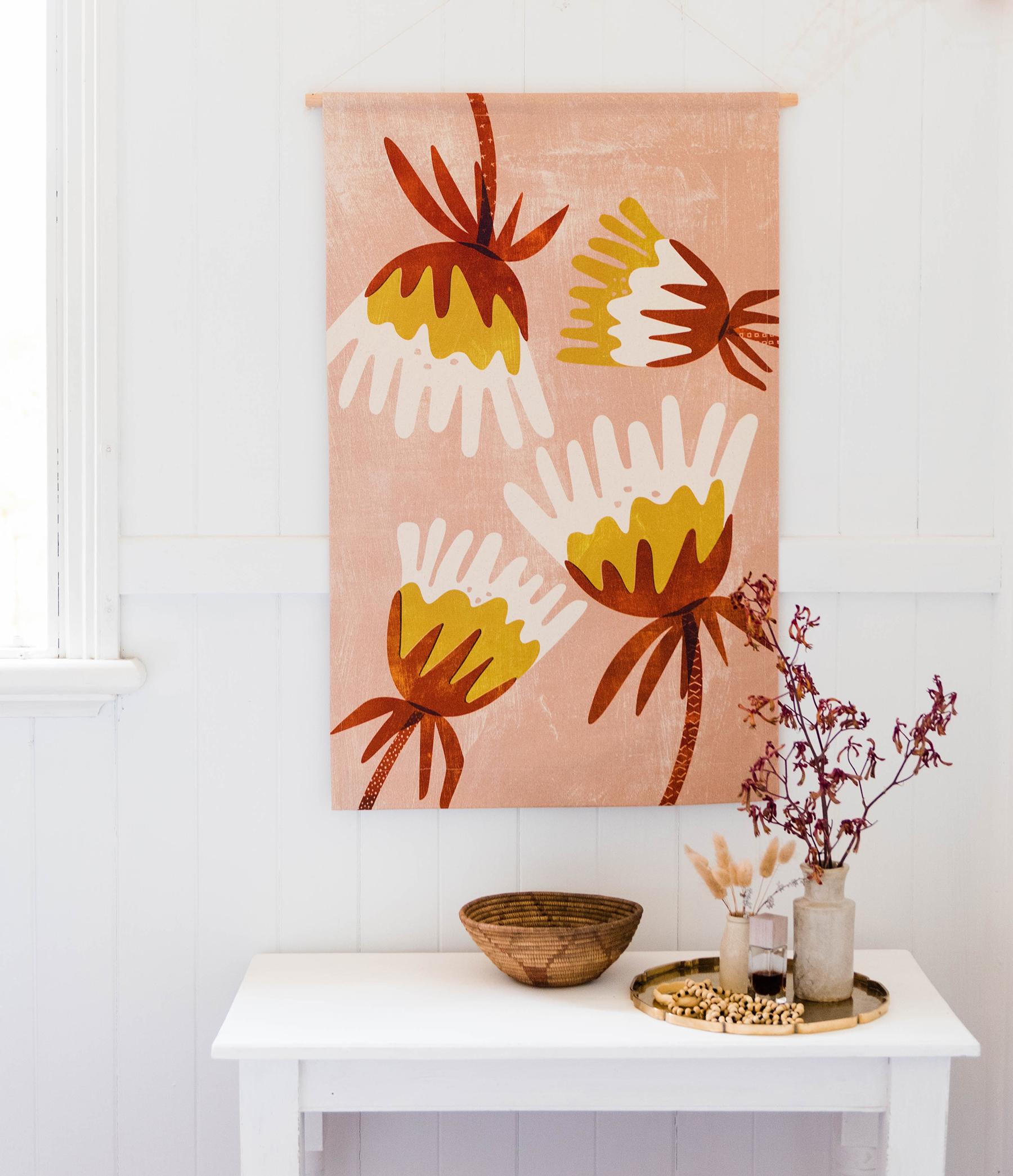 Blush Fuchsia midi wall hanging from Home Dweller  / Photography: Hannah Puechmarin / Styling: Cheryl Car, Albert & Grace