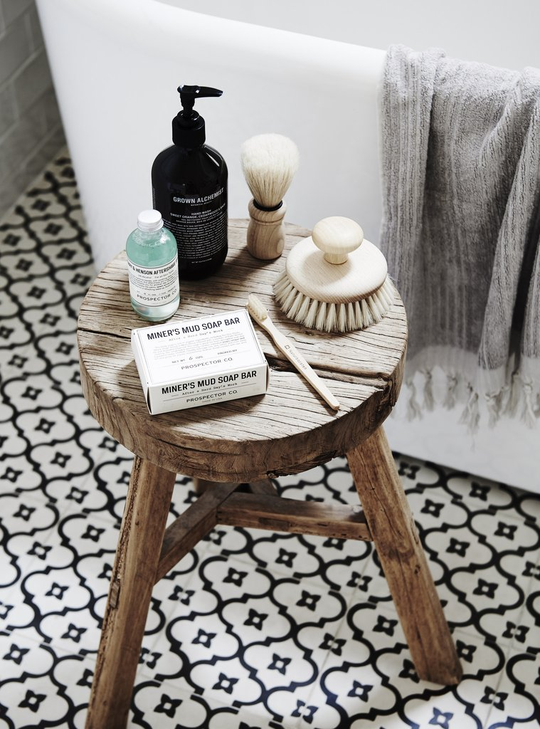 Rustic round timber stool from Bloom & Co.