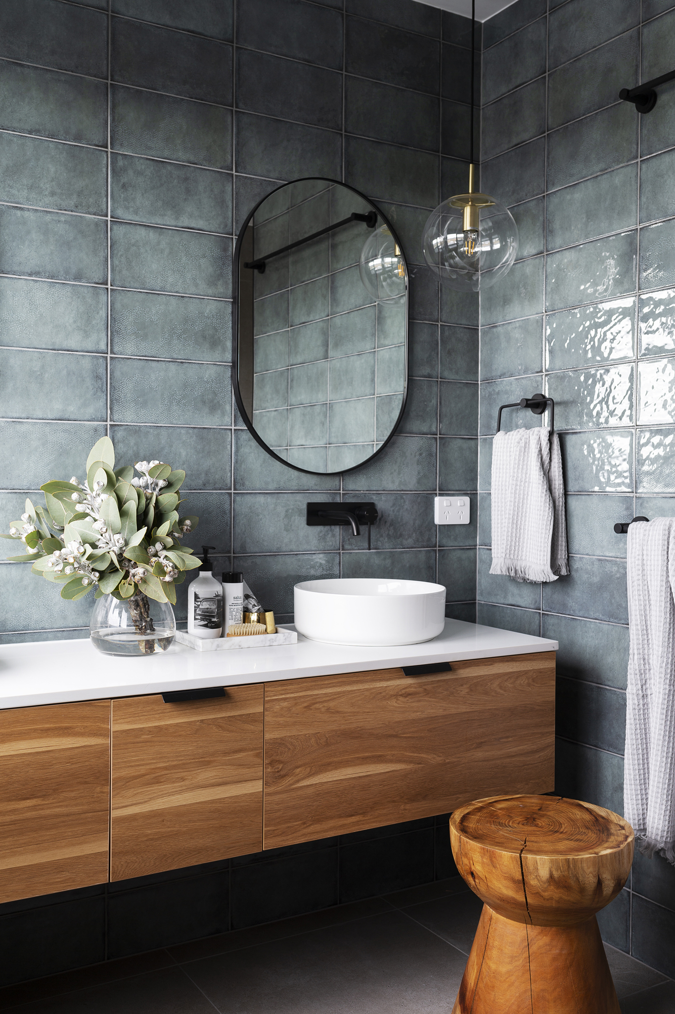Interior design  Studio Black Interiors /  Photography  Adam McGrath /  Build  Homes by Howe  Featuring Highgrove Bathroom's Eden timber wall hung vanity