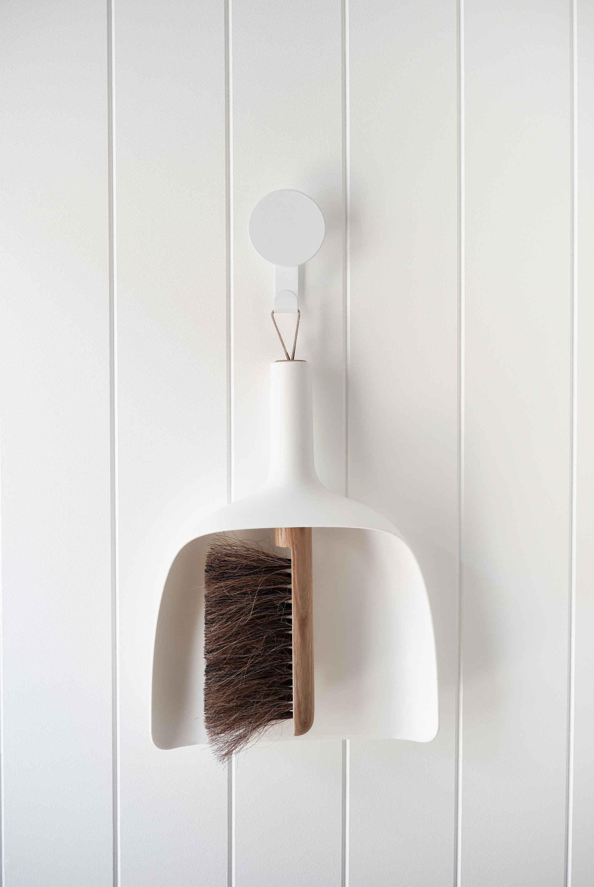 EasyCraft's EasyVJ wall panels ,  Design By Them's 'Dial' hanger with hook ,  Menu dustpan and brush from designstuff