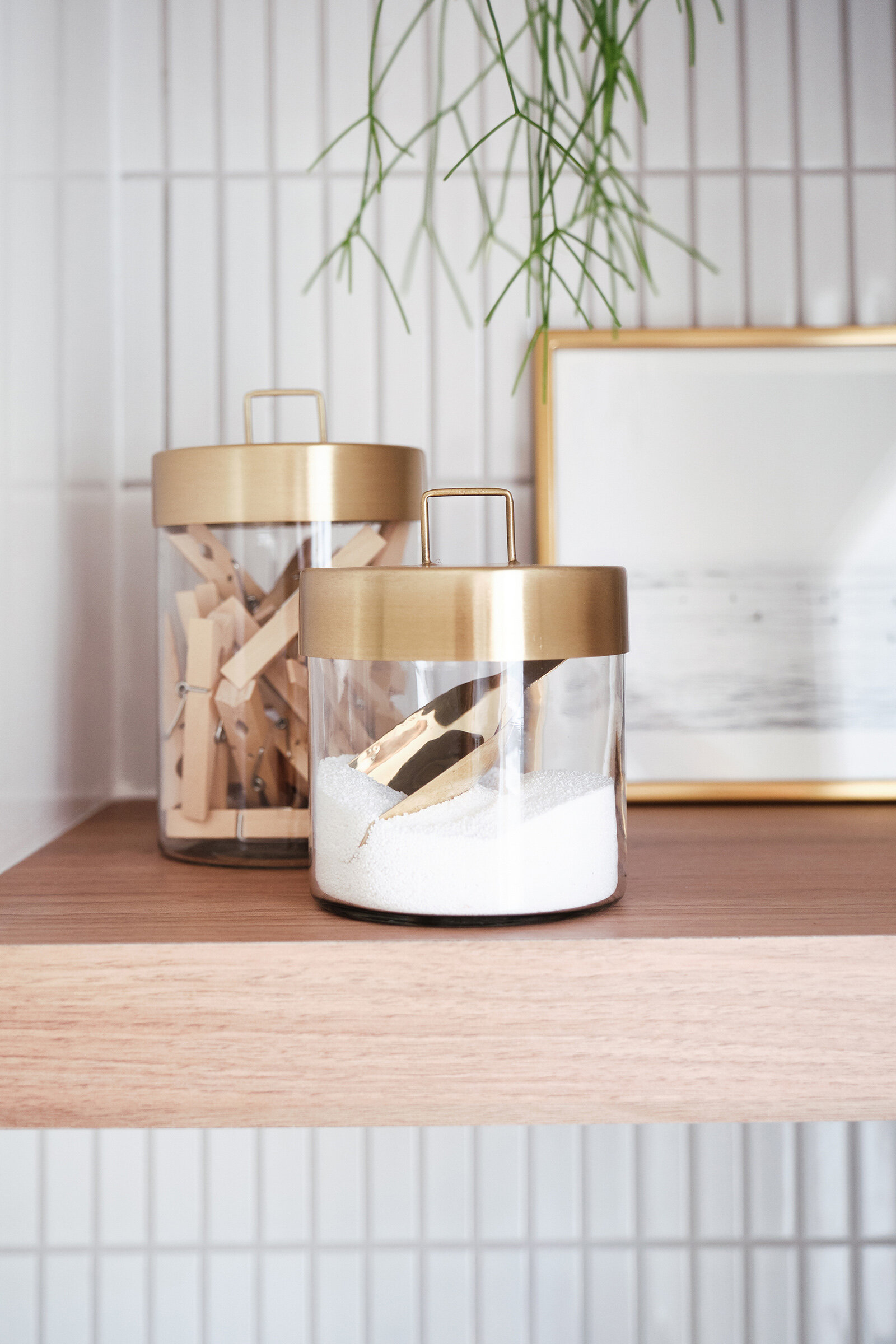Zakkia brass scoop   and glass jars with brass lids