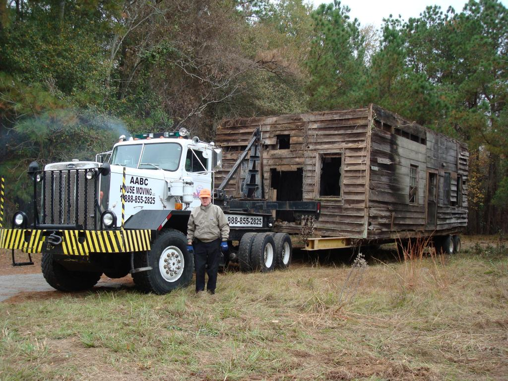 This historic structure in Calhoun County is hooked up and ready to move.