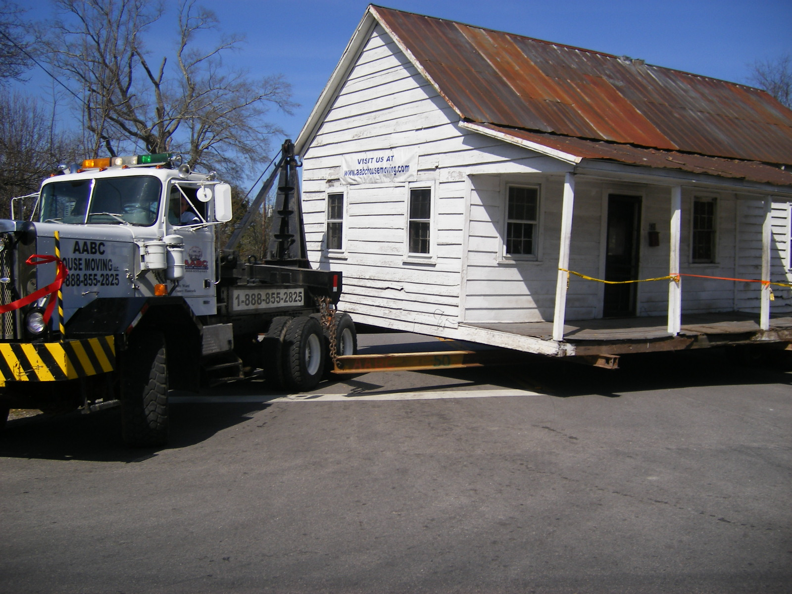 The house was transported to its new location.