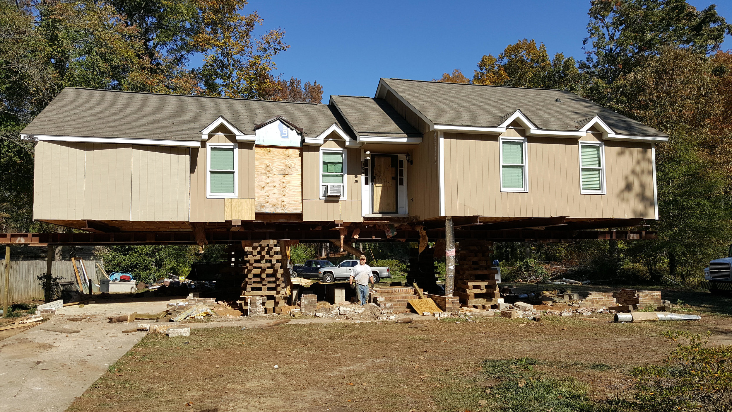 This home has now been raised to meet new flood regulations and is ready for its new foundation.
