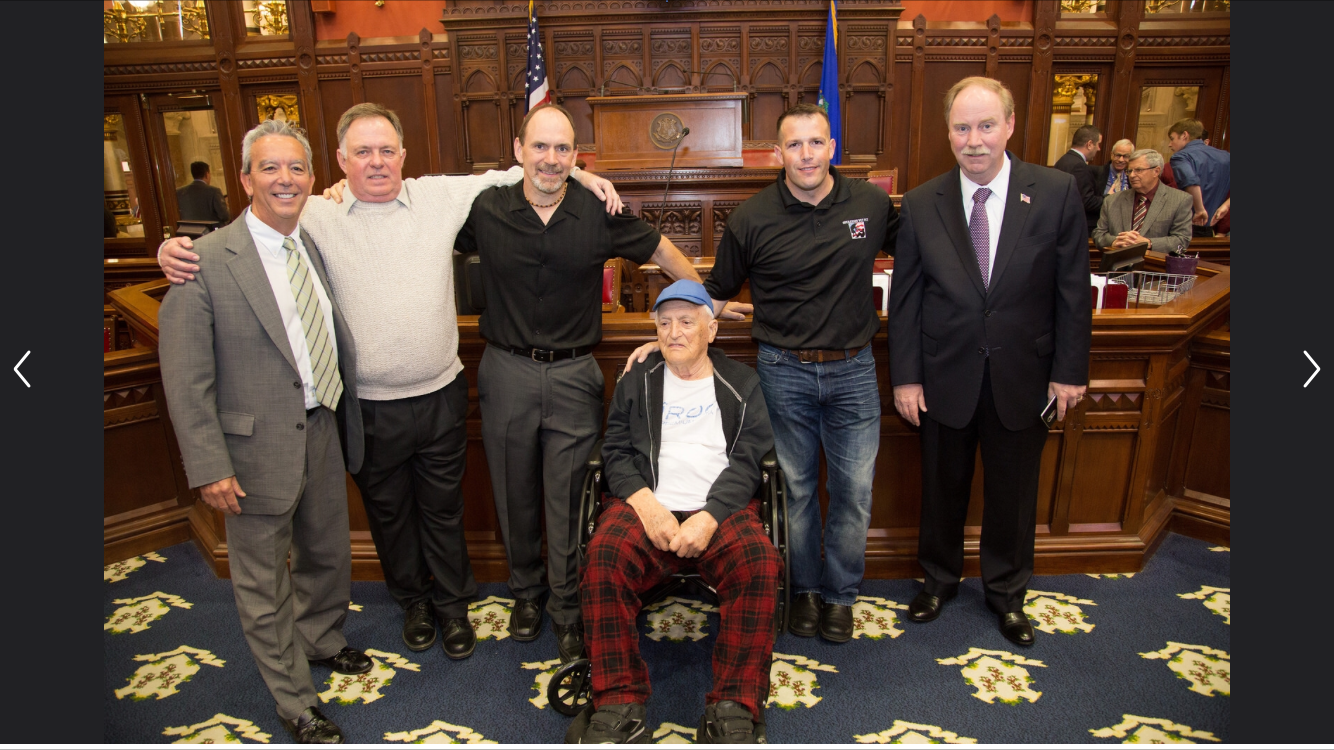 Operation Vet Fit's advocacy services garnered the Attention of CT State Lawmakers and led to changes in probate court legislation which now empowers victims and advocates to take action when exploited. Pictured above from left to right: CT State Representative, Smith, Thomas Cummins, Joe Schirmer, WWII Combat Veteran, Louis Russo, OVF Founder Dan Gaita, and CT State Senator, Michael Mclachlan during a visit to the State Capital, April 2016.