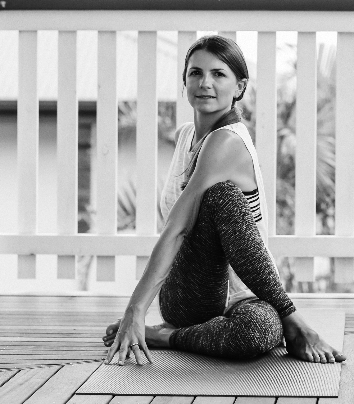 Sarah Campbell  completed her Hatha Yoga teacher certificate in 2008 through Prana Space in Rose Bay, Sydney. She has been teaching yoga classes, holding retreats and giving odd cooking class in Yamba since then. She also completed a prenatal yoga course through Byron Yoga Centre, studied Thai massage with Ananda Apfelbaum from Sacred Bodywork in New York City and Vedic Meditation with Tim Brown in Sydney.