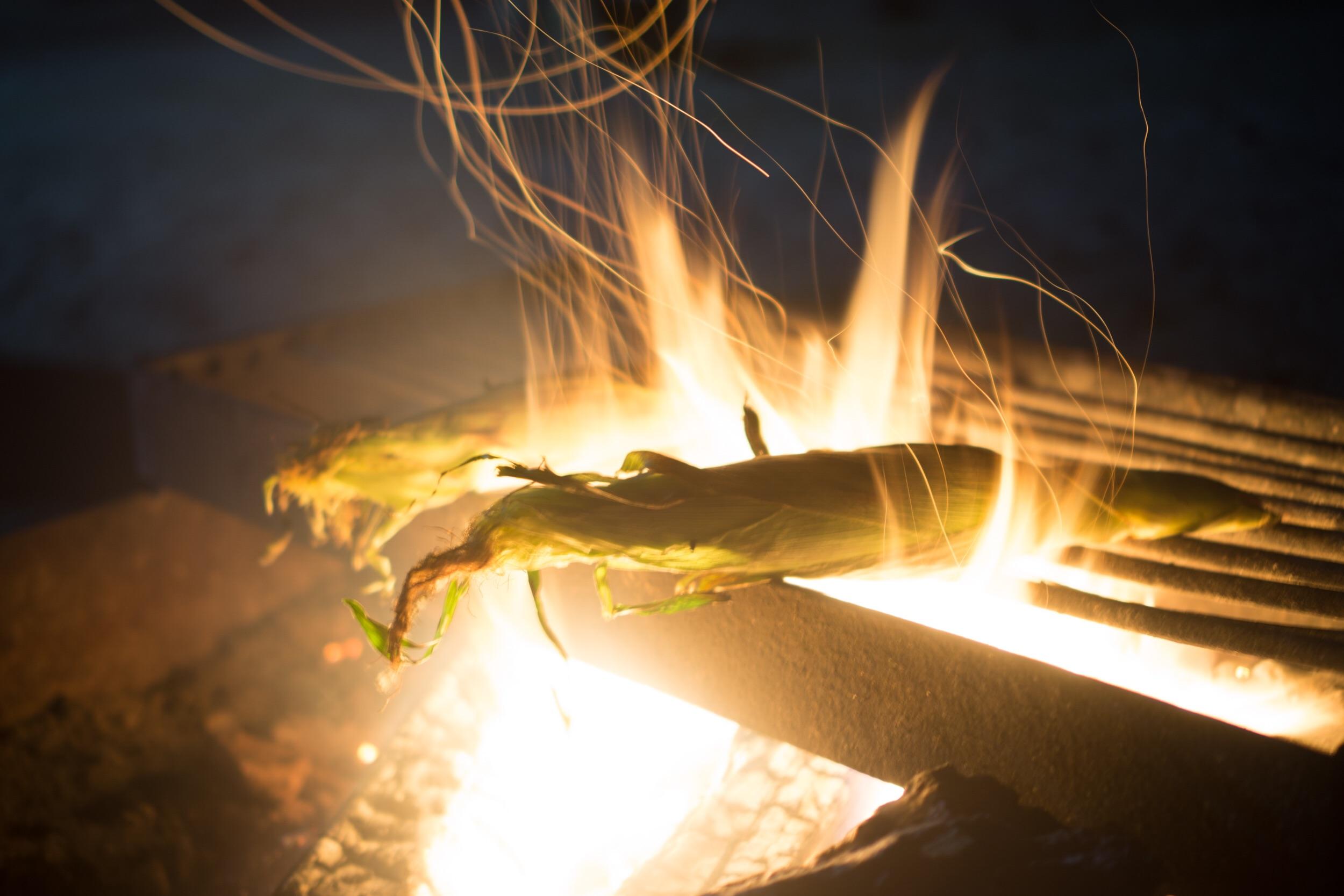 Campfire roasted corn. YUM