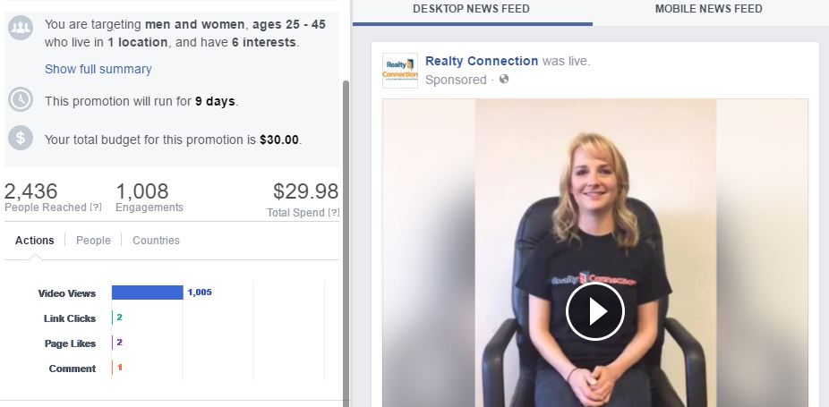 Facebook Live Video - $30 spent on boost with interest targeting