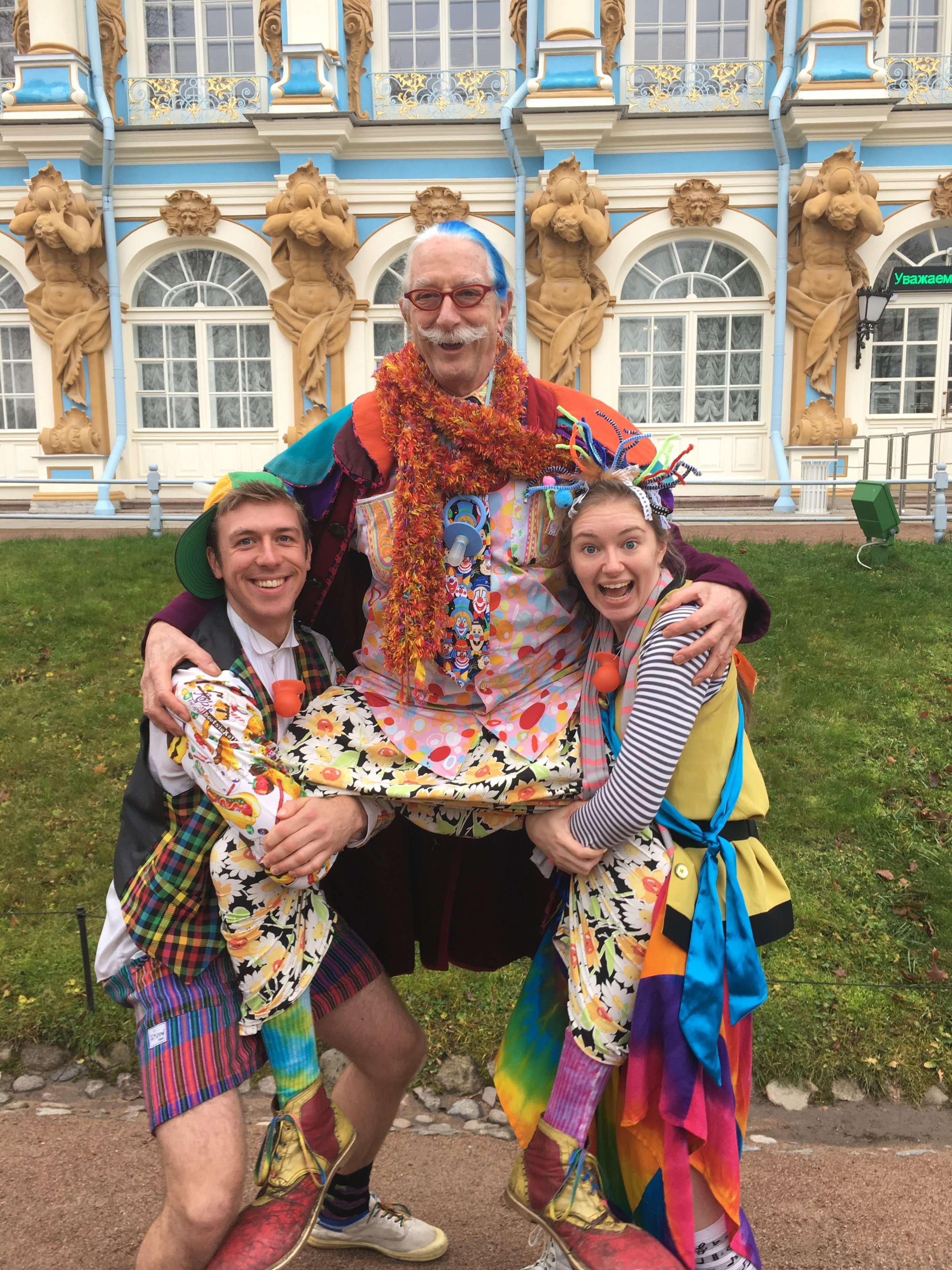 Clowning around with Patch and Sophie in St. Petersburg