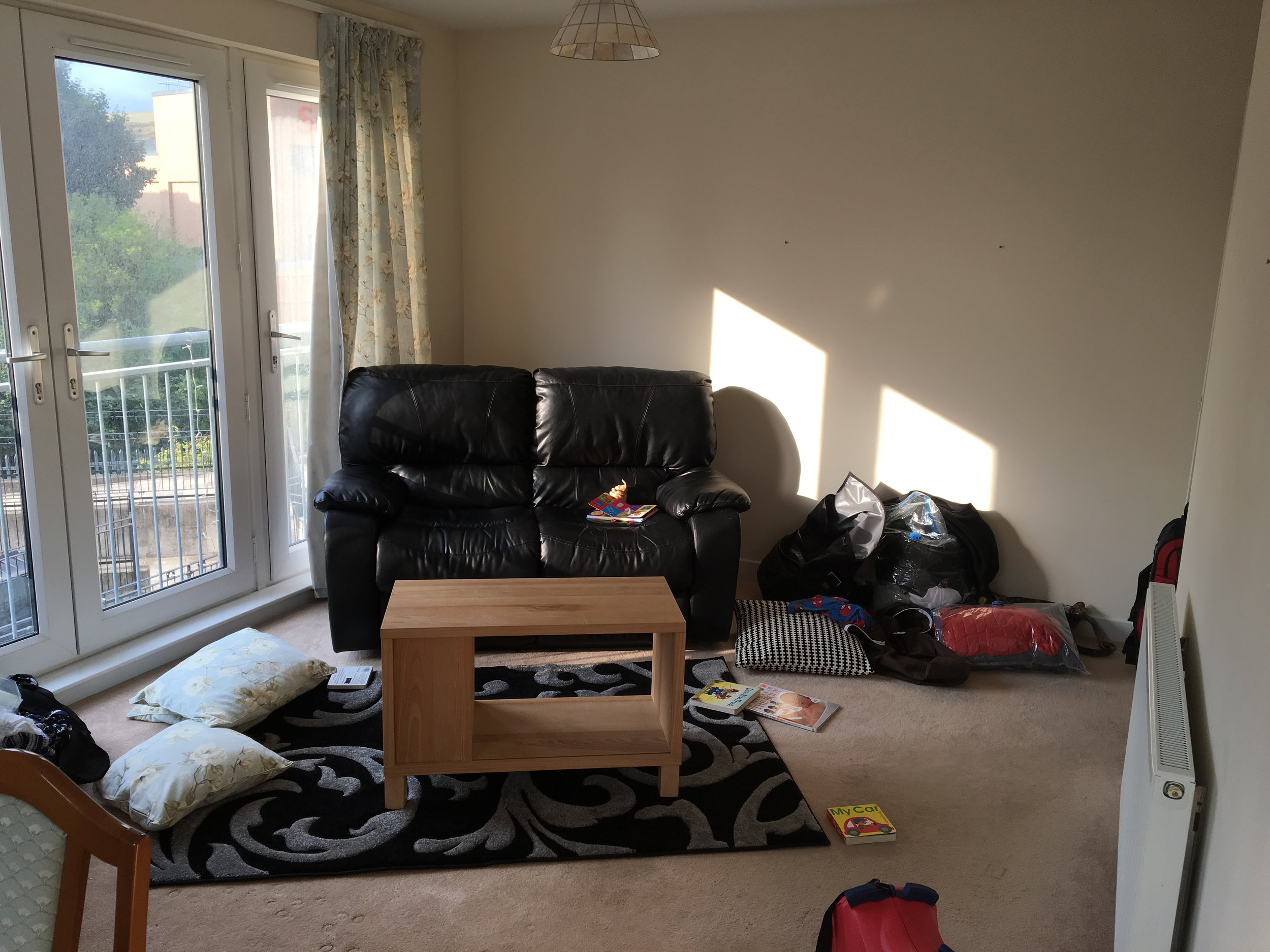 The living room of our flat today.