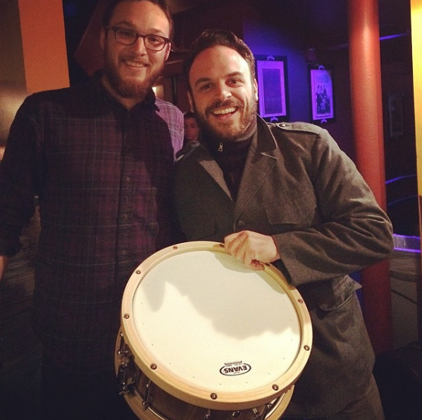 Michael Calabrese of  Lake Street Drive , receiving a custom Diamond Drum Co at Bluebird Theater.
