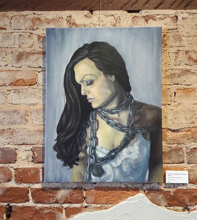 """I Think There Might Be Something Wrong""  It was fun to see this hot mess of a self portrait hanging in a gallery! This was the first project in my painting 2 class and it was the first time I used artwork to express my struggle with mental illness. At this point I still wasn't saying things like ""bipolar"" or ""depression"" but this piece was the first step in my journey to accepting and understanding my disorder. . . . . . . #vesstudio #CommonSideEffects #bipolar #bipolardisorder #bipolardepression #depression #bipolartwo #art #arttherapy #painting #oil #oilpainting #selfportrait #breakthestigma"