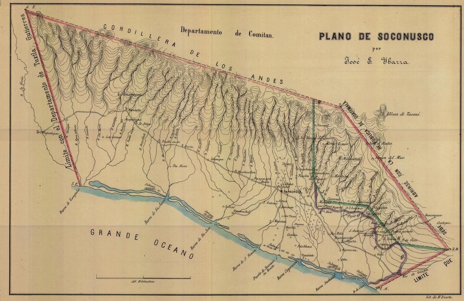 Map 2 - Map of the Soconusco, 1872.    Source: Plano del Soconusco, by José E. Ibarra, 1872. Mapoteca Manuel Orozco y Berra, Colección General, Estado de Chiapas, No. 399a-cGe-7274-p.  Reprinted with permission.  [click for larger image]