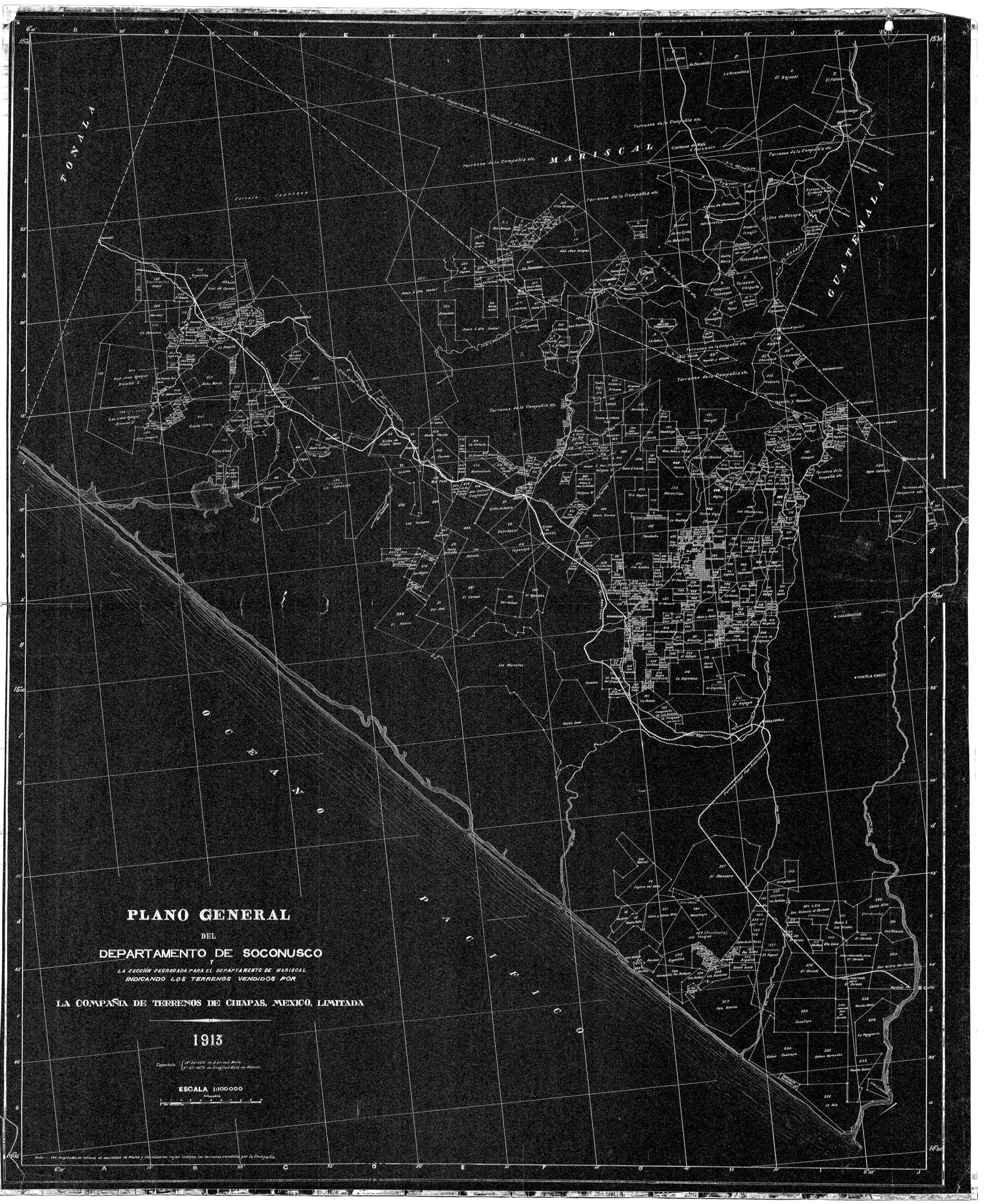 """Map 6. General Plan of the Department of Soconusco by the Mexican Land and Colonization Company, 1913.    Source: """"Plano general del Departamento de Soconusco y la sección segregada para el Departamento de Mariscal indicando los terrenos vendidos por La Compañía de Terrenos de Chiapas, México, Limitada, 1913.""""  Mapoteca Manuel Orozco y Berra, Colección Orozco y Berra, Varilla oyBchis02, No. Clasificador 3212-oyB-7274-a-1 y a-2.  Reprinted with permission. [ click for larger image ]"""