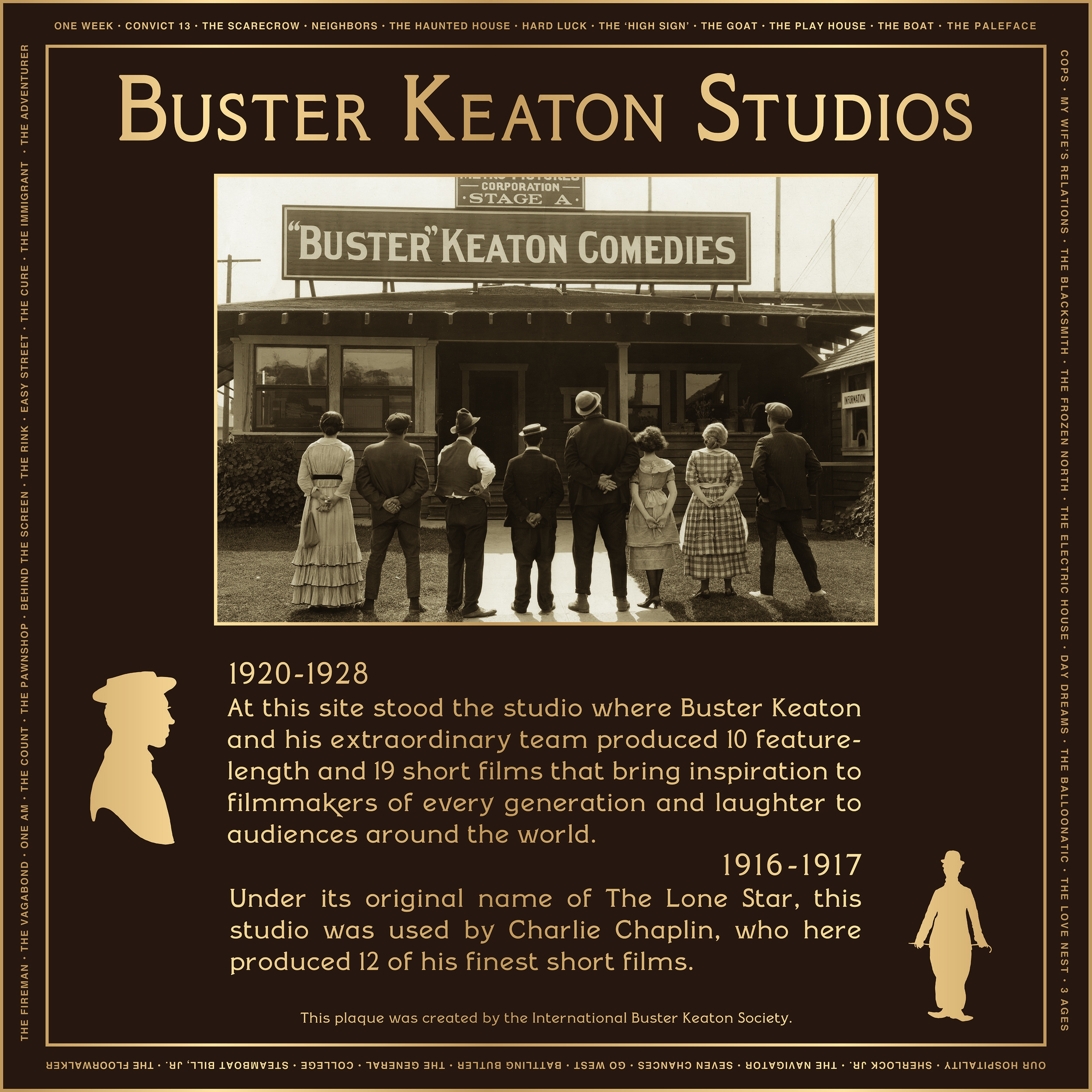 KEATON-CHAPLIN PLAQUE-color CREDIT The International Buster Keaton Society