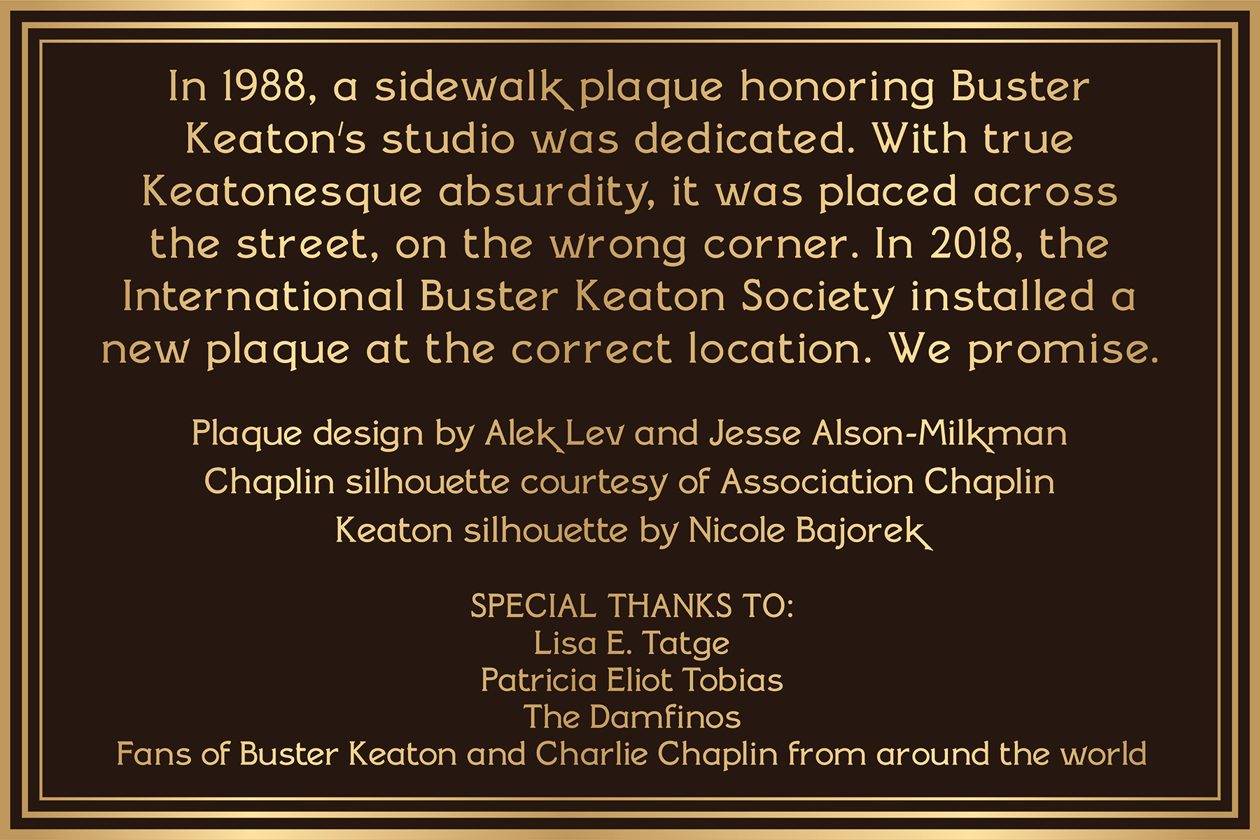 SMALL PLAQUE-color CREDIT The International Buster Keaton Society