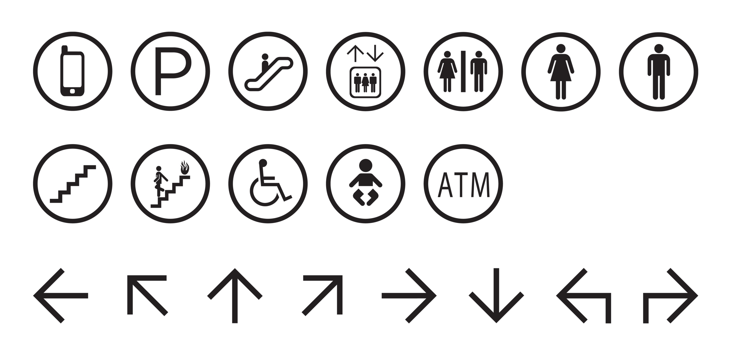 A system of custom iconography was developed to accent the new logo and simplify wayfinding
