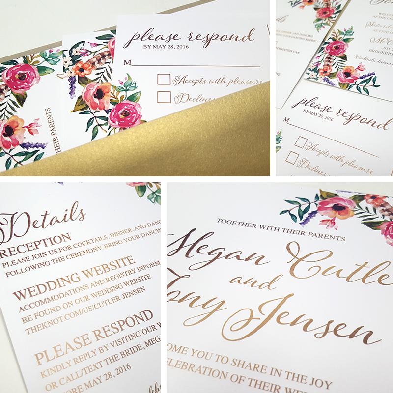 Golden Floral invitation set