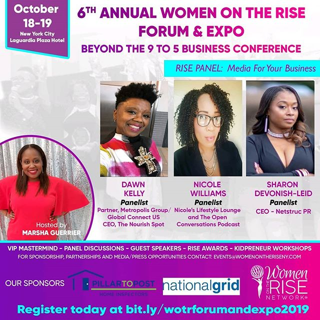 "The 6th Annual @womenontherisenetwork Conference happens in 10 days. Our CEO @nicolewilliamspr will be one of the awesome panelists, as well as an honoree. . Join her, @netstrucpr and @prmaven17 as they discuss media for your business. .⠀ Use code ""WOTRHonoree"" to get 40% OFF your tickets. Link in bio.⠀ . . . . . . . #careerwoman #careertips #brandingtips #fabulouslyfearlessirl #womeninmedia #sheboss #careergal #prgirl #marketingmavens #girlboss #wotrhonoree #wotr"